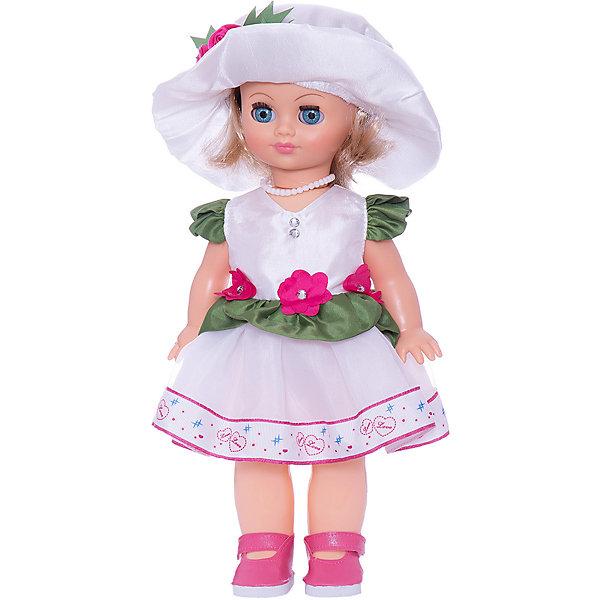 Кукла Элла 16, со звуком, ВеснаБренды кукол<br>Нарядно одетая качественная кукла от отечественного производителя способна не просто помочь ребенку весело проводить время, но и научить девочку одеваться со вкусом. На ней - нарядное платье, шляпка, обувь, всё можно снимать и надевать.<br>Кукла произносит несколько фраз, механизм работает от батареек. Очень красиво смотрятся пышные волосы, на которых можно делать прически. Сделана игрушка из качественных и безопасных для ребенка материалов. Такая кукла поможет ребенку освоить механизмы социальных взаимодействий, развить моторику и воображение. Также куклы помогают девочкам научиться заботиться о других.<br><br>Дополнительная информация:<br><br>- материал: пластмасса;<br>- волосы: прошивные;<br>- открывающиеся глаза;<br>- звуковой модуль;<br>- снимающаяся одежда и обувь;<br>- высота: 35 см.<br><br>Комплектация:<br><br>- одежда;<br>- три батарейки СЦ 357.<br><br>Куклу Элла 16, со звуком, от марки Весна можно купить в нашем магазине.<br>Ширина мм: 170; Глубина мм: 100; Высота мм: 420; Вес г: 350; Возраст от месяцев: 36; Возраст до месяцев: 1188; Пол: Женский; Возраст: Детский; SKU: 4701862;