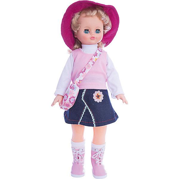 Кукла Алиса, со звуком, 55 см, ВеснаБренды кукол<br>Модно одетая красивая кукла от отечественного производителя способна не просто помочь ребенку весело проводить время, но и научить девочку одеваться со вкусом. На ней - модный костюм со шляпкой, обувь, всё можно снимать и надевать.<br>Кукла произносит несколько фраз, механизм работает от батареек. Очень красиво смотрятся пышные волосы, на которых можно делать прически. Сделана игрушка из качественных и безопасных для ребенка материалов. Такая кукла поможет ребенку освоить механизмы социальных взаимодействий, развить моторику и воображение. Также куклы помогают девочкам научиться заботиться о других.<br><br>Дополнительная информация:<br><br>- материал: пластмасса;<br>- волосы: прошивные;<br>- открывающиеся глаза;<br>- звуковой модуль;<br>- снимающаяся одежда и обувь;<br>- высота: 55 см.<br><br>Комплектация:<br><br>- одежда;<br>- три батарейки СЦ 357.<br><br>Куклу Алиса, со звуком, от марки Весна можно купить в нашем магазине.<br><br>Ширина мм: 240<br>Глубина мм: 150<br>Высота мм: 590<br>Вес г: 900<br>Возраст от месяцев: 36<br>Возраст до месяцев: 1188<br>Пол: Женский<br>Возраст: Детский<br>SKU: 4701863