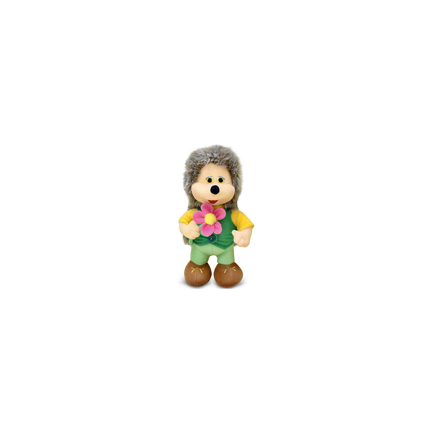 Ёжик с цветком, музыкальный, 25 см, LAVAЗвери и птицы<br>Симпатичная мягкая игрушка сделана в виде ежика с цветком в руках. Она поможет ребенку проводить время весело и с пользой (такие игрушки развивают воображение и моторику). В игрушке есть встроенный звуковой модуль, работающий на батарейках.<br>Размер игрушки универсален - 25 сантиметров, её удобно брать с собой в поездки и на прогулку. Сделан Ёжик из качественных и безопасных для ребенка материалов, которые еще и приятны на ощупь. Эта игрушка может стать и отличным подарком для взрослого.<br><br>Дополнительная информация:<br><br>- материал: текстиль, пластик;<br>- звуковой модуль;<br>- язык: русский;<br>- работает на батарейках;<br>- высота: 25 см.<br><br>Игрушку Ёжик с цветком, музыкальный, 25 см, от марки LAVA можно купить в нашем магазине.<br><br>Ширина мм: 250<br>Глубина мм: 150<br>Высота мм: 90<br>Вес г: 200<br>Возраст от месяцев: 36<br>Возраст до месяцев: 1188<br>Пол: Унисекс<br>Возраст: Детский<br>SKU: 4701866