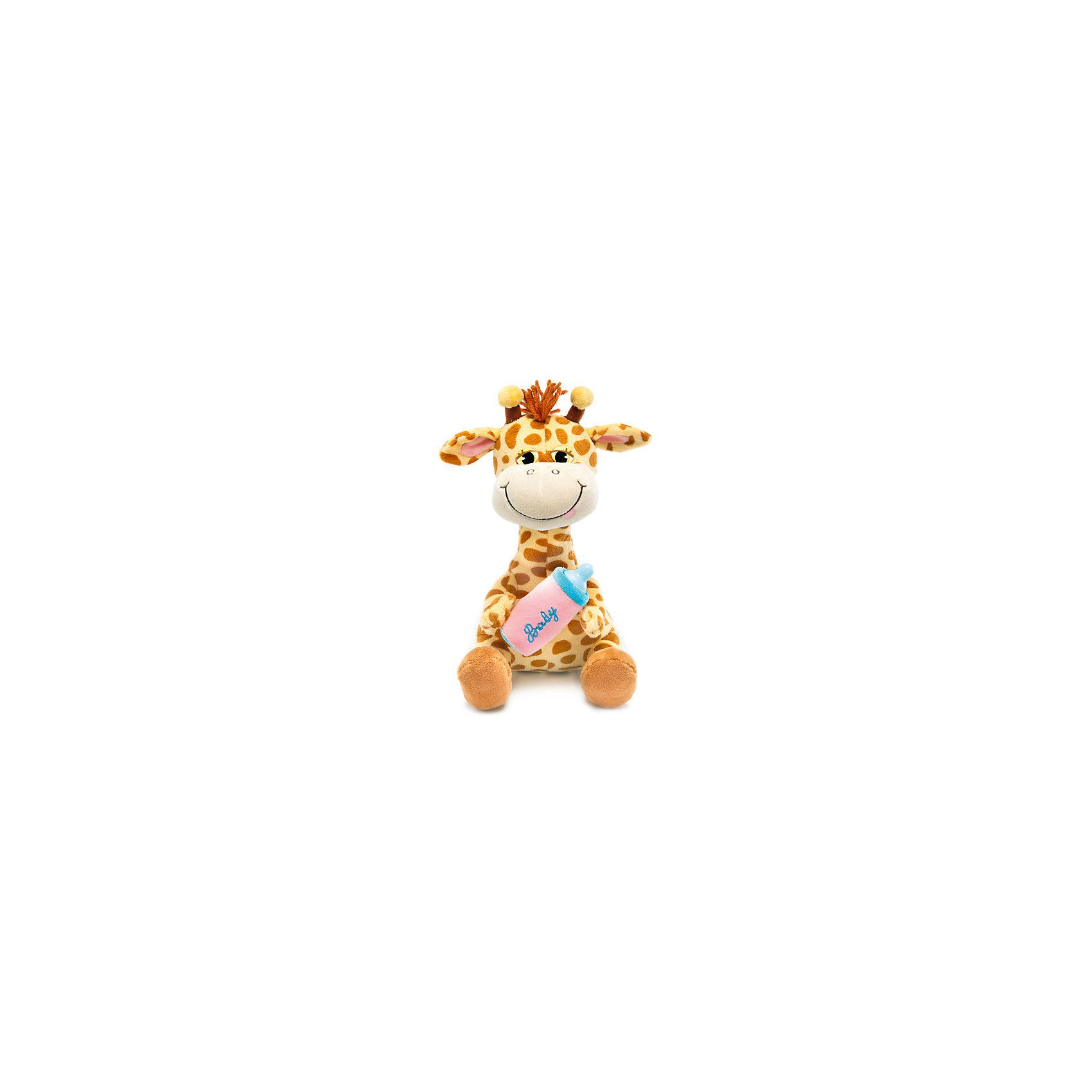 Жирафик с бутылочкой, музыкальный, 27 см, LAVAЗабавная мягкая игрушка сделана в виде Жирафика, который держит в руках детскую бутылочку. Она поможет ребенку проводить время весело и с пользой (такие игрушки развивают воображение и моторику). В игрушке есть встроенный звуковой модуль, работающий на батарейках.<br>Размер игрушки универсален - 27 сантиметра, её удобно брать с собой в поездки и на прогулку. Сделан Жирафик из качественных и безопасных для ребенка материалов, которые еще и приятны на ощупь. Эта игрушка может стать и отличным подарком для взрослого.<br><br>Дополнительная информация:<br><br>- материал: текстиль, пластик;<br>- звуковой модуль;<br>- язык: русский;<br>- работает на батарейках;<br>- высота: 27 см.<br><br>Игрушку Жирафик с бутылочкой, музыкальный, 27 см, от марки LAVA можно купить в нашем магазине.<br><br>Ширина мм: 9999<br>Глубина мм: 9999<br>Высота мм: 270<br>Вес г: 369<br>Возраст от месяцев: 36<br>Возраст до месяцев: 1188<br>Пол: Унисекс<br>Возраст: Детский<br>SKU: 4701877
