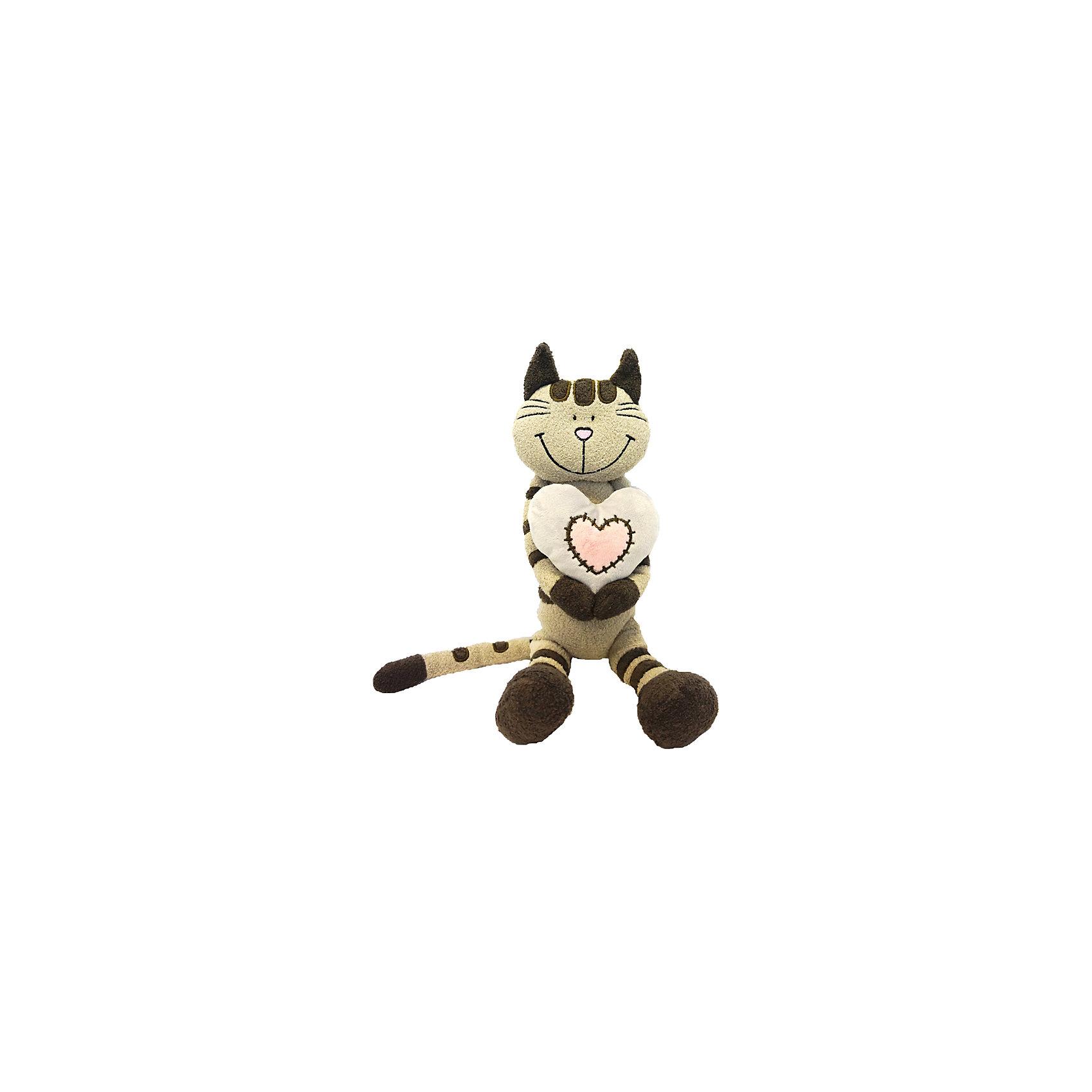 Кот Полосатик с сердцем, 33 см, MAXITOYS