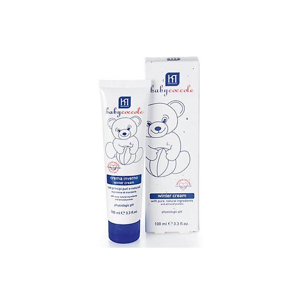 Крем защитный зимний 100 мл, BabycoccoleКосметика для малыша<br>Крем защитный зимний 100 мл, Babycoccole (Бэбикоколле) – нежный крем обладает высокой степенью защиты кожи малыша от внешнего воздействия.<br>Защитный зимний крем Babycoccole деликатно увлажняет, успокаивает, поддерживают мягкость и эластичность кожи и защищает кожу от холода и ветра. Он разработан специально для заботливого ухода за чувствительной кожей новорожденных и маленьких детей. Содержит чистые и натуральные ингредиенты витамин F из льняного масла, витамин Е, протеины миндаля и бетаглюкан овса. Крем гипоаллергенный, обладает физиологическим уровнем pH. Babycoccole (Бэбикоколле) включает все линии косметики, необходимые для ухода за кожей новорожденных. Косметика Babycoccole (Бэбикоколле) – это чистые и натуральные решения, созданные самой природой, потому что они основаны на использовании лучших и наиболее эффективных свойств компонентов растений. Косметика создана в результате глубоких исследований, для ухода за нежной кожей новорожденных и маленьких детей. Разработана и произведена в лаборатории Betafarma, Италия. Клинически протестирована, соответствует Европейской директиве 2003/15/СЕЕ, которая регулирует вопрос о недопустимости в содержании аллергических веществ. Для косметических средств характерен легкий мягкий запах мускуса с цитрусовой ноткой, который так подходит и нравится детям.<br><br>Дополнительная информация:<br><br>- Объем: 100 мл.<br>- Отсутствуют потенциально агрессивные ПАВ, такие как лаурилсульфаты (SLES-SLS)<br>- Отсутствие консервантов в синергической (взаимодополняющей) смеси активных ингредиентов гарантирует высокую микробиологическую безопасность продукции<br>- Отсутствуют компоненты животного происхождения, способные вызвать развитие аллергии<br>- Добавлены тщательно подобранные компоненты растительного происхождения, способствующие устранению покраснения кожи и оказывающие успокаивающее и смягчающее действие<br>- Не содержит спирта<br>- Способ применения: нанести тонки