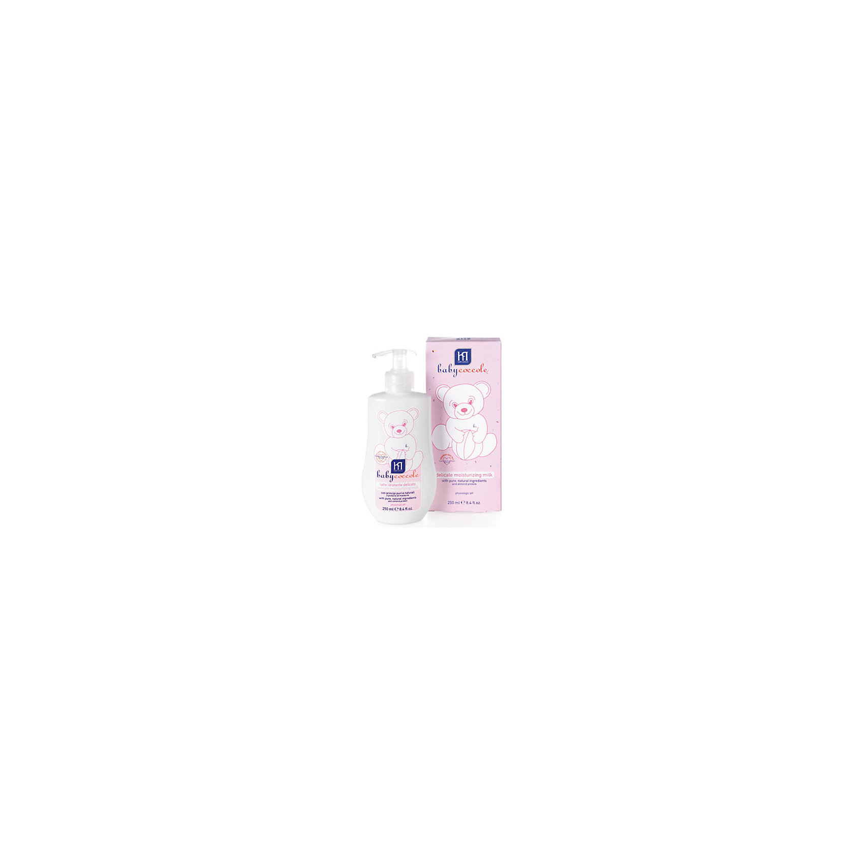 Молочко увлажняющее 250мл, BabycoccoleМолочко увлажняющее 250мл, Babycoccole (Бэбикоколле) – это мягкая защитная эмульсия, которая с нежностью заботится о коже малыша.<br>Увлажняющее молочко Babycoccole (Бэбикоколле) с чистыми натуральными ингредиентами, таким как бетаглюкан овса, эсцин из экстракта конского каштана, витамин Е и миндальным маслом деликатно увлажняет, смягчает  и очищает чувствительную кожу новорожденных и маленьких детей. Молочко повышает эластичность кожи. Гипоаллергенно, обладает физиологическим уровнем pH. Косметика Babycoccole (Бэбикоколле) для ухода за кожей новорожденных – это чистые и натуральные решения, созданные самой природой, потому что они основаны на использовании лучших и наиболее эффективных свойств компонентов растений. Косметика создана в результате глубоких исследований, для ухода за нежной кожей новорожденных и маленьких детей. Разработана и произведена в лаборатории Betafarma, Италия. Клинически протестирована, соответствует Европейской директиве 2003/15/СЕЕ, которая регулирует вопрос о недопустимости в содержании аллергических веществ. Для косметических средств характерен легкий мягкий запах мускуса с цитрусовой ноткой, который так подходит и нравится детям.<br><br>Дополнительная информация:<br><br>- Объем: 250 мл.<br>- Отсутствуют потенциально агрессивные ПАВ, таких как лаурилсульфаты (SLES-SLS)<br>- Отсутствие консервантов в синергической (взаимодополняющей) смеси активных ингредиентов гарантирует высокую микробиологическую безопасность <br>- Отсутствуют компоненты животного происхождения, способные вызвать развитие аллергии<br>- Добавлены тщательно подобранные компоненты растительного происхождения (ромашка, бетаглюкан овса, витамин F из льна), способствующие устранению покраснения кожи и оказывающие успокаивающее и смягчающее действие<br>- Применение: предназначено для ежедневного применения с целью деликатного увлажнения кожи ребенка<br><br>Молочко увлажняющее 250мл, Babycoccole (Бэбикоколле) можно купить в нашем интернет-