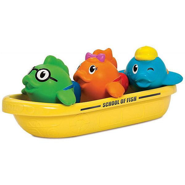 Игрушка для ванны Школа рыбок 12+, MunchkinИгрушки для ванной<br>Игрушка для ванны Школа рыбок 12+, Munchkin (Манчкин) - непременно понравится вашему малышу и превратит купание в веселую игру!<br>Игрушка для ванны Школа рыбок от Munchkin (Манчкин) станет любимой игрушкой вашего малыша во время купания! Набор состоит из желтой лодки, играющей роль школьного автобуса для трех рыбок. Их внешность выразительно передает характеры «школьников». Зеленая рыбка – прилежный ученик в очках, оранжевая – милая девочка, синяя рыбка в кепке хитро подмигивает, показывая свой задорный нрав. Разноцветные рыбки не только плавают в лодке, но и брызгаются водой. Самой лодочкой можно зачерпывать воду и использовать ее в качестве кувшина для смывания шампуня. Миссия Munchkin (Манчкин), американской компании с 20-летней историей: избавить мир от надоевших и прозаических товаров, искать умные инновационные решения, которые превращает обыденные задачи в опыт, приносящий удовольствие. Понимая, что наибольшее значение в быту имеют именно мелочи, компания создает уникальные товары, которые помогают поддерживать порядок, организовывать пространство, облегчают уход за детьми – недаром компания имеет уже более 140 патентов и изобретений, используемых в создании ее неповторимой и оригинальной продукции. Munchkin (Манчкин) делает жизнь родителей легче!<br><br>Дополнительная информация:<br><br>- Для детей с 12 месяцев<br>- В наборе: лодочка, три рыбки-брызгалки<br>- Материал: пластмасса, резина<br>- Размер упаковки: 9х18х17 см.<br>- Вес: 200 гр.<br><br>Игрушку для ванны Школа рыбок 12+, Munchkin (Манчкин) можно купить в нашем интернет-магазине.<br>Ширина мм: 90; Глубина мм: 180; Высота мм: 170; Вес г: 200; Возраст от месяцев: 12; Возраст до месяцев: 36; Пол: Унисекс; Возраст: Детский; SKU: 4701931;