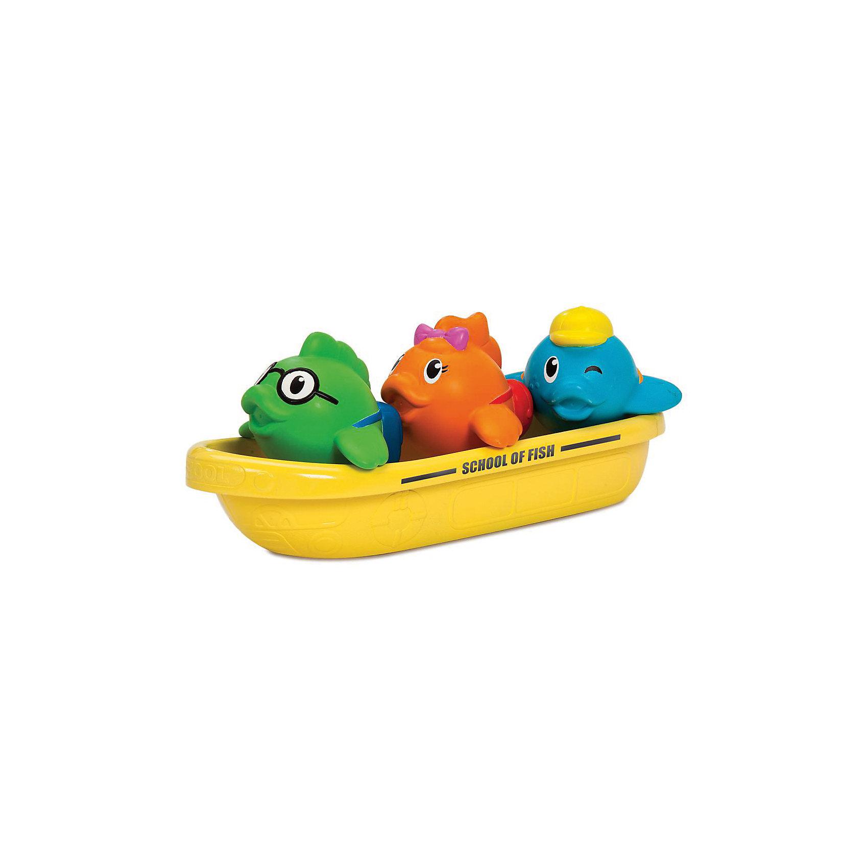 Игрушка для ванны Школа рыбок 12+, MunchkinИгрушка для ванны Школа рыбок 12+, Munchkin (Манчкин) - непременно понравится вашему малышу и превратит купание в веселую игру!<br>Игрушка для ванны Школа рыбок от Munchkin (Манчкин) станет любимой игрушкой вашего малыша во время купания! Набор состоит из желтой лодки, играющей роль школьного автобуса для трех рыбок. Их внешность выразительно передает характеры «школьников». Зеленая рыбка – прилежный ученик в очках, оранжевая – милая девочка, синяя рыбка в кепке хитро подмигивает, показывая свой задорный нрав. Разноцветные рыбки не только плавают в лодке, но и брызгаются водой. Самой лодочкой можно зачерпывать воду и использовать ее в качестве кувшина для смывания шампуня. Миссия Munchkin (Манчкин), американской компании с 20-летней историей: избавить мир от надоевших и прозаических товаров, искать умные инновационные решения, которые превращает обыденные задачи в опыт, приносящий удовольствие. Понимая, что наибольшее значение в быту имеют именно мелочи, компания создает уникальные товары, которые помогают поддерживать порядок, организовывать пространство, облегчают уход за детьми – недаром компания имеет уже более 140 патентов и изобретений, используемых в создании ее неповторимой и оригинальной продукции. Munchkin (Манчкин) делает жизнь родителей легче!<br><br>Дополнительная информация:<br><br>- Для детей с 12 месяцев<br>- В наборе: лодочка, три рыбки-брызгалки<br>- Материал: пластмасса, резина<br>- Размер упаковки: 9х18х17 см.<br>- Вес: 200 гр.<br><br>Игрушку для ванны Школа рыбок 12+, Munchkin (Манчкин) можно купить в нашем интернет-магазине.<br><br>Ширина мм: 90<br>Глубина мм: 180<br>Высота мм: 170<br>Вес г: 200<br>Возраст от месяцев: 12<br>Возраст до месяцев: 36<br>Пол: Унисекс<br>Возраст: Детский<br>SKU: 4701931