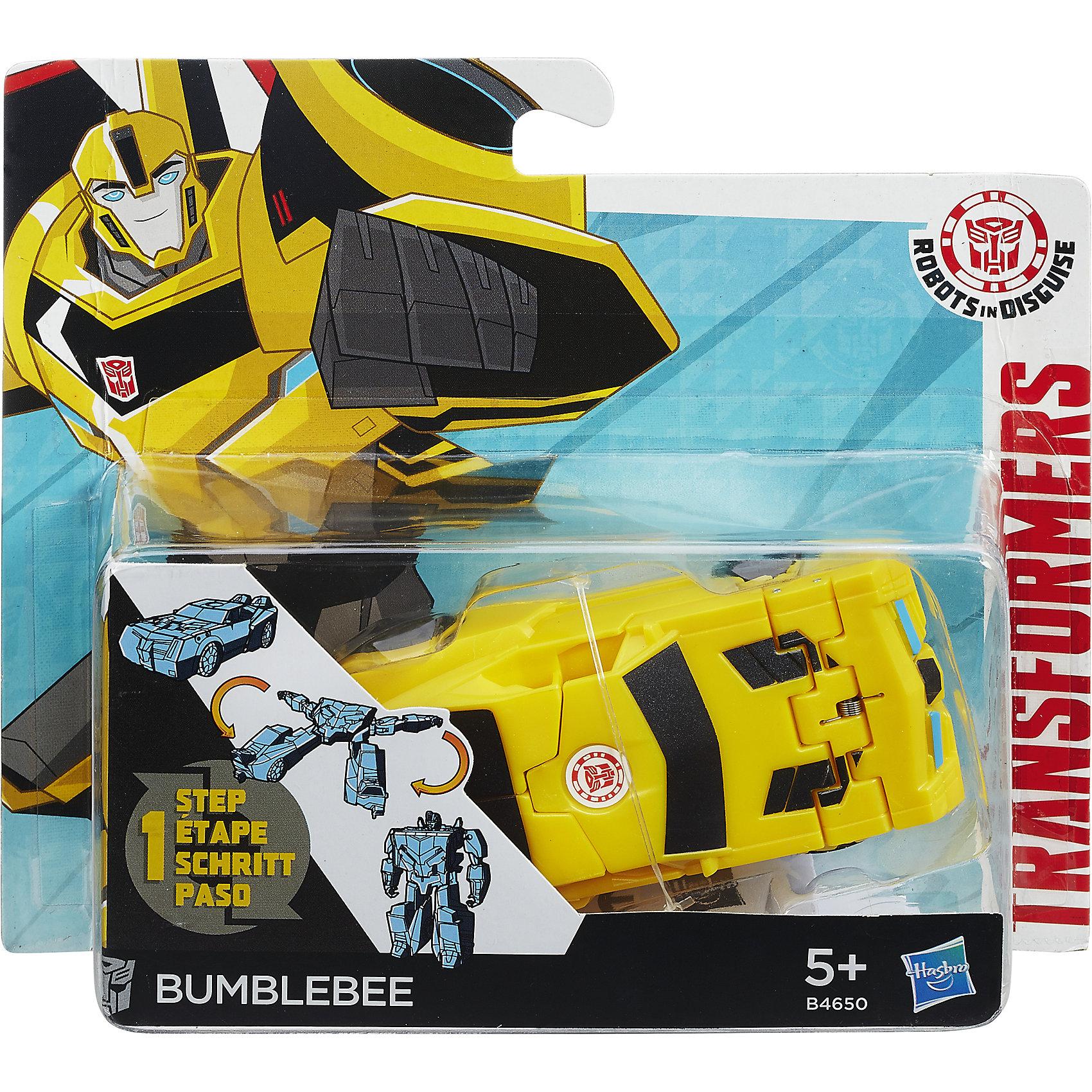 Бамблби, Роботс-ин-Дисгайс Уан-Стэп, ТрансформерыЛюбимые персонажи, которые трансформируются в один миг! Игрушка выполнена из высококачественного прочного пластика, прекрасно детализирована, легко и просто трансформируется всего за 5 действий. Робот имеет средний размер, ребенку удобно держать его в руках и производить трансформации самостоятельно. Бамблби - один из главных героев Трансформеров. Он хитрый, ловкий и очень проворный. Игрушки-трансформеры помогают развить мелкую моторику, логическое мышление и воображение ребенка.  <br><br>Дополнительная информация: <br><br>- Комплектация: фигурка, оружие. <br>- Материал: пластик. <br>- Размер упаковки: 15х4х15 см. <br>- Размер игрушки: 12 см.<br>- Трансформируется за 5 действий. <br><br>Трансформер Роботс-ин-Дисгайс Уан-Стэп можно купить в нашем магазине.<br><br>Ширина мм: 178<br>Глубина мм: 151<br>Высота мм: 63<br>Вес г: 115<br>Возраст от месяцев: 60<br>Возраст до месяцев: 120<br>Пол: Мужской<br>Возраст: Детский<br>SKU: 4702892