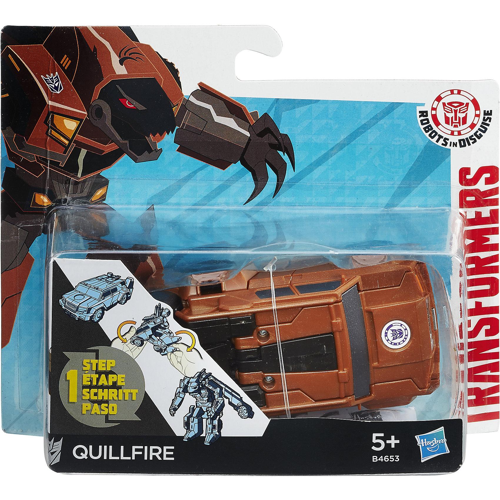 Роботс-ин-Дисгайс Уан-Стэп, Quillfire, ТрансформерыЛюбимые персонажи, которые трансформируются в один миг! Игрушка выполнена из высококачественного прочного пластика, прекрасно детализирована, легко и просто трансформируется всего за 5 действий. Робот имеет средний размер, ребенку удобно держать его в руках и производить трансформации самостоятельно. Quillfire - авторобот - дикобраз из клана десептиконов, хитрый и опасный. Игрушки-трансформеры помогают развить мелкую моторику, логическое мышление и воображение ребенка.  <br><br>Дополнительная информация: <br><br>- Комплектация: фигурка, оружие. <br>- Материал: пластик. <br>- Размер упаковки: 15х4х15 см. <br>- Размер игрушки: 12 см.<br>- Трансформируется за 5 действий. <br><br>Трансформер Роботс-ин-Дисгайс Уан-Стэп можно купить в нашем магазине.<br><br>Ширина мм: 178<br>Глубина мм: 151<br>Высота мм: 63<br>Вес г: 115<br>Возраст от месяцев: 60<br>Возраст до месяцев: 120<br>Пол: Мужской<br>Возраст: Детский<br>SKU: 4702893