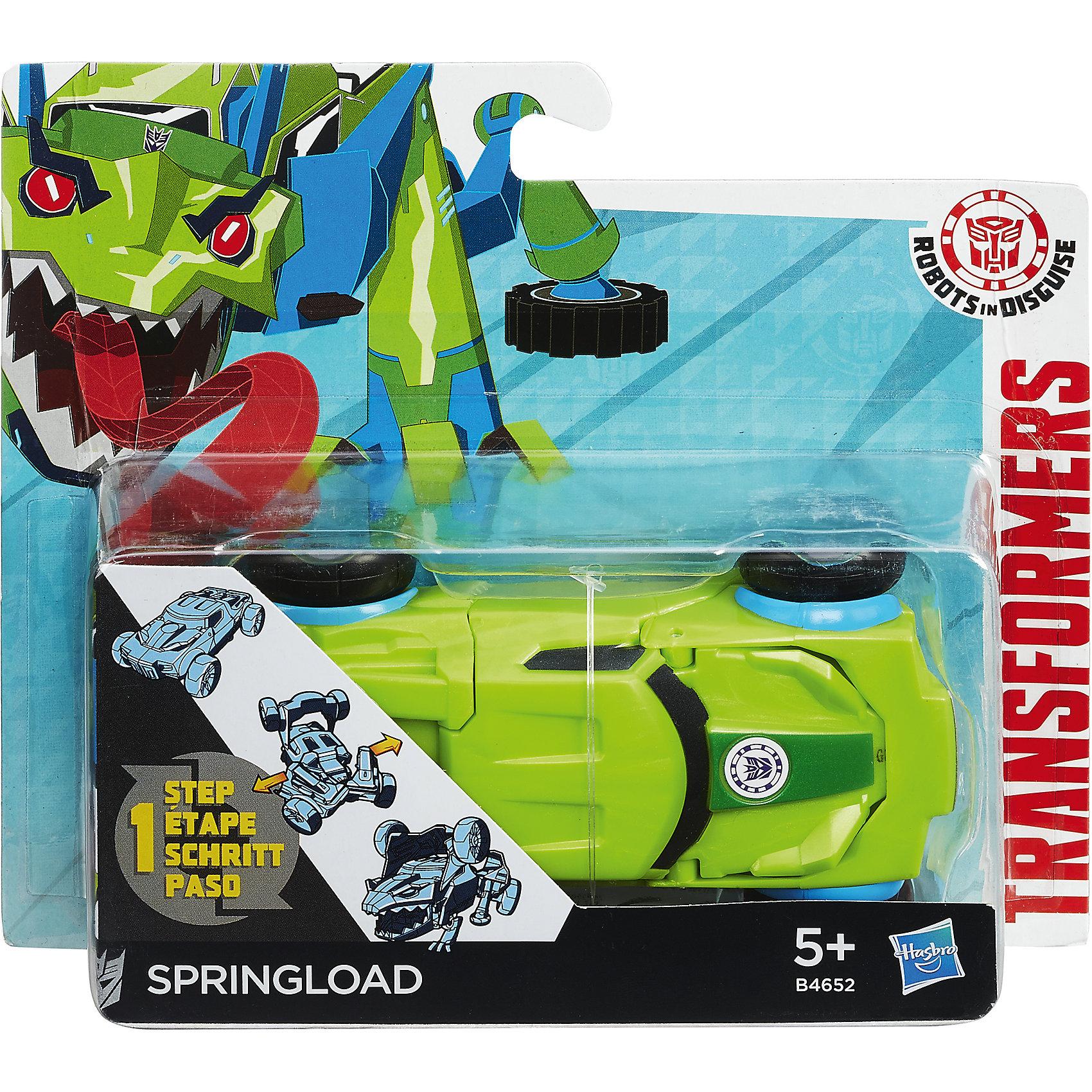 Спринглоад, Роботс-ин-Дисгайс Уан-Стэп, ТрансформерыЛюбимые персонажи, которые трансформируются в один миг! Игрушка выполнена из высококачественного прочного пластика, прекрасно детализирована, легко и просто трансформируется всего за 5 действий. Робот имеет средний размер, ребенку удобно держать его в руках и производить трансформации самостоятельно. Springload  - авторобот - ящер из клана десептиконов, хитрый, опасный. Игрушки-трансформеры помогают развить мелкую моторику, логическое мышление и воображение ребенка.  <br><br>Дополнительная информация: <br><br>- Комплектация: фигурка, оружие. <br>- Материал: пластик. <br>- Размер упаковки: 15х4х15 см. <br>- Размер игрушки: 12 см.<br>- Трансформируется за 5 действий. <br><br>Трансформер Роботс-ин-Дисгайс Уан-Стэп можно купить в нашем магазине.<br><br>Ширина мм: 178<br>Глубина мм: 151<br>Высота мм: 63<br>Вес г: 115<br>Возраст от месяцев: 60<br>Возраст до месяцев: 120<br>Пол: Мужской<br>Возраст: Детский<br>SKU: 4702895