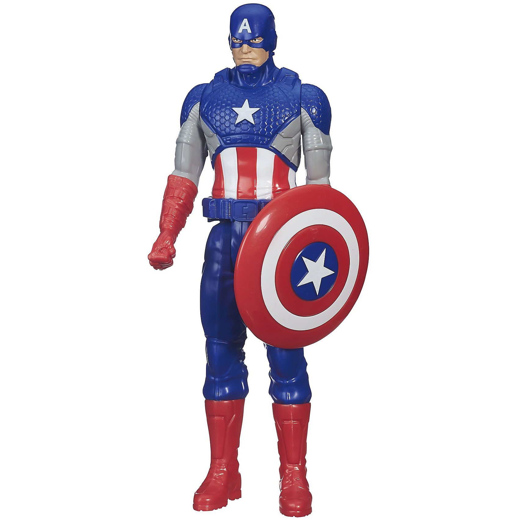 Фигурка Титаны: Капитан Америка, МстителиФигурки героев<br>Фигурка Капитана Америка станет приятным сюрпризом для вашего ребенка, особенно если он является поклонником популярных комиксов и фильмов о супергероях Мстители (Avengers). Капитан Америка - герой, силы которому придает сыворотка Супер-Солдата. Он одет в костюм, стилизованный под звездно-полосатый флаг США и держит в руках круглый щит. Фигурка имеет множество точек артикуляции, что позволяет ей приобретать самые реалистичные позы, выполнена из высококачественного пластика, прекрасно детализирована и реалистично раскрашена. Собери все фигурки титанов и погрузись в увлекательную игру вместе с любимыми героями! <br><br>Дополнительная информация: <br><br>- Материал: пластик.<br>- Размер: 30 см.<br>- Голова, руки, ноги подвижные. <br><br>Фигурку Титаны: Капитан Америка, Мстители, можно купить в нашем магазине.<br><br>Ширина мм: 306<br>Глубина мм: 104<br>Высота мм: 55<br>Вес г: 258<br>Возраст от месяцев: 48<br>Возраст до месяцев: 96<br>Пол: Мужской<br>Возраст: Детский<br>SKU: 4702913