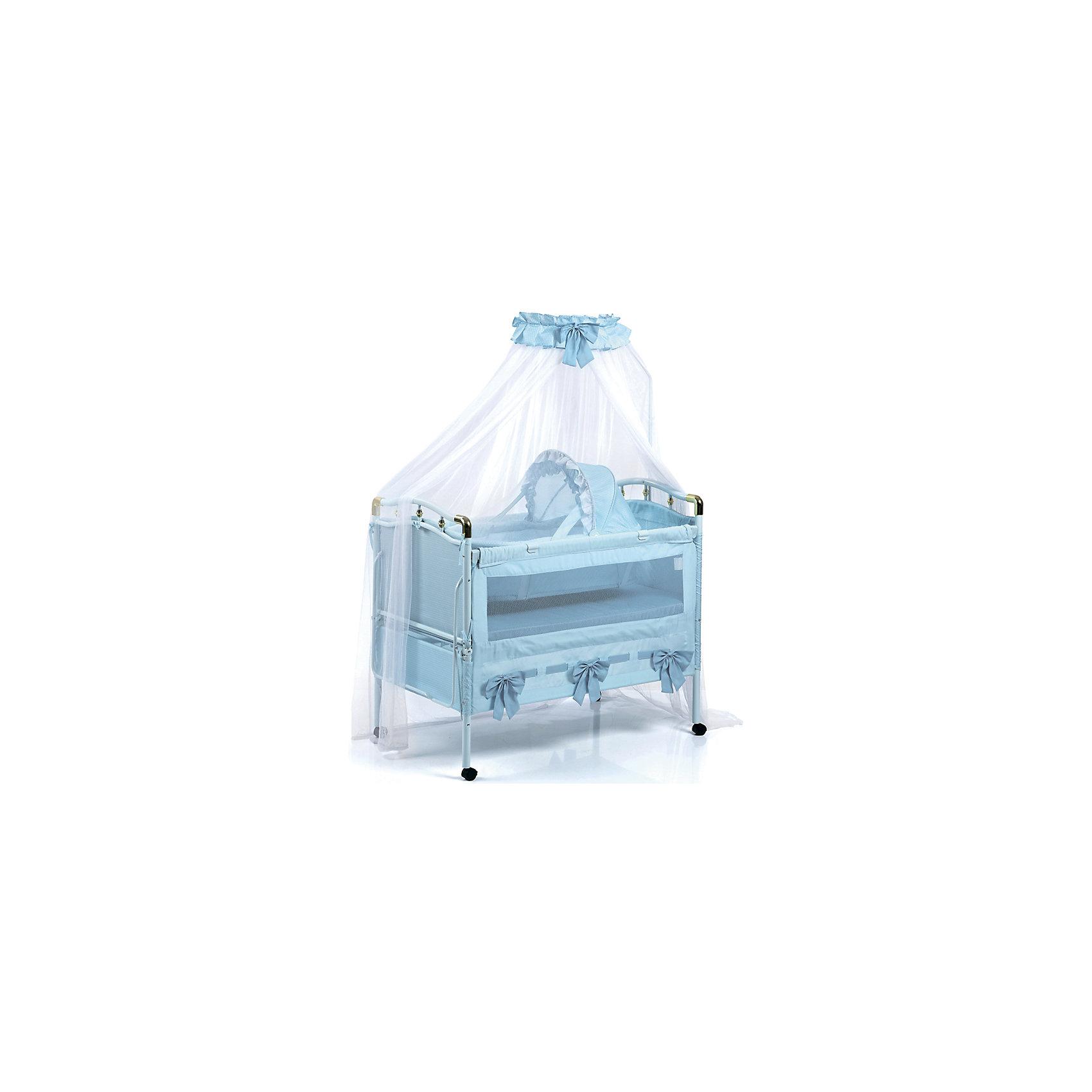 Кроватка-трансформер 05TLY668R (RBLU), Geoby, голубойМногофункциональная детская кроватка-трансформер Geoby TLY668R - сочетает в себе комфорт, качество и безопасность. Она прекрасно сочетается с любым оформлением детской комнаты и поможет создать атмосферу уюта. <br>Характеристика:<br><br>Металлическая<br>От рождения до 7 лет<br>Дно кроватки устанавливается на 2 уровня по высоте<br>Откидывающиеся боковые стенки<br>Мягкие боковые стенки<br>Кровать увеличивается по длине<br>Колёсные опоры с фиксаторами<br>В комплекте: подвесная люлька с москитной сеткой, балдахин, матрас.<br><br>Размеры без балдахина: 1200 х 685 х 1160 мм.<br><br>Ширина мм: 1170<br>Глубина мм: 235<br>Высота мм: 745<br>Вес г: 25000<br>Возраст от месяцев: 0<br>Возраст до месяцев: 84<br>Пол: Мужской<br>Возраст: Детский<br>SKU: 4703021