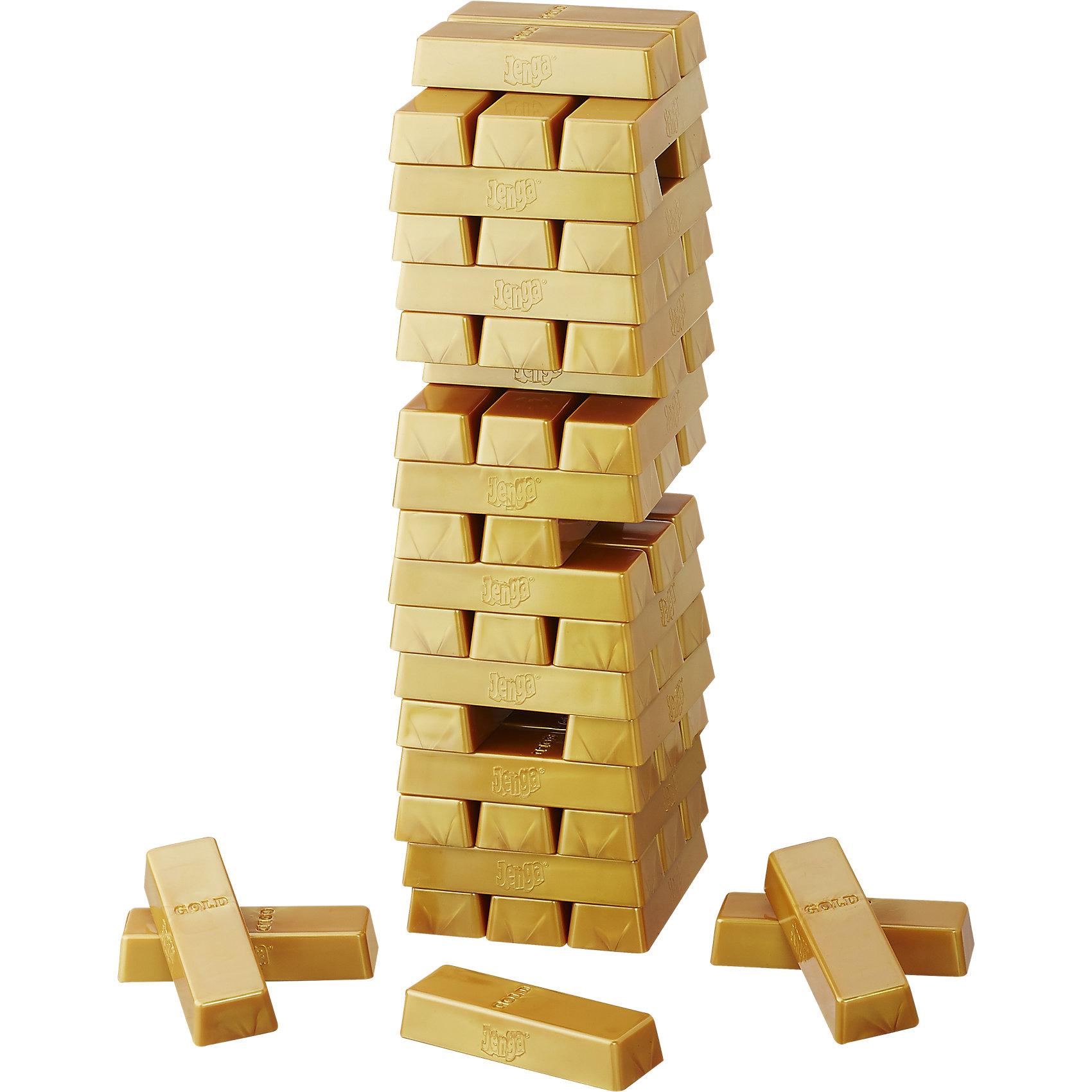 Игра Дженга Голд, HasbroДля больших компаний<br>Дженга Голд от компании Hasbro - это замечательная настольная игра из серии Дженга, к которой одинаковый интерес проявят и дети, и взрослые. Перед началом игры следует правильно сложить блоки, руководствуясь инструкцией, а затем уже начнется сам игровой процесс. Смысл в том, чтобы вытаскивать небольшие блоки из середины конструкции, при этом не уронив башню. Игрок, который вытащил блок золотого цвета и при этом развалил конструкцию проиграл.<br>Дженга предельно проста и понятна, поэтому даже ребенку не составит труда научиться играть в нее. Но не все так легко, как может показаться на первый взгляд... Сначала игроки строят башню из имеющихся брусочков-кирпичиков. Потом по одному вынимают их из нее и кладут сверху так, чтобы башня устояла. С каждым последующим ходом игра становится все сложнее, но тем еще и интереснее. Чтобы выиграть, придется проявить свою аккуратность, точность движений, терпение, смекалку и сноровку. Игрок, извлекший последний брусок, после которого башня упала - проигрывает.<br><br>Ширина мм: 272<br>Глубина мм: 187<br>Высота мм: 68<br>Вес г: 848<br>Возраст от месяцев: 72<br>Возраст до месяцев: 228<br>Пол: Унисекс<br>Возраст: Детский<br>SKU: 4707460