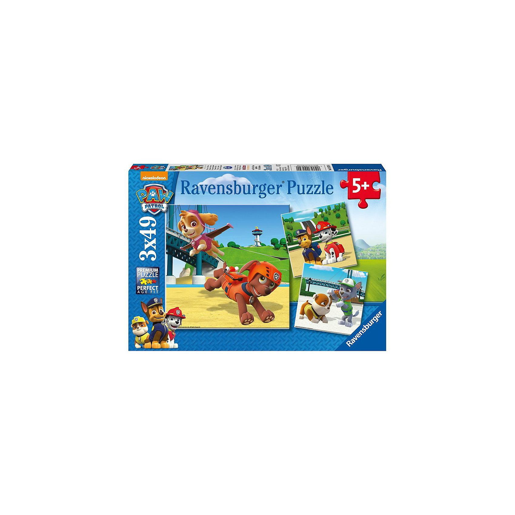 Набор пазлов Щенячий патруль, 3х49 детали, RavensburgerПазлы для малышей<br>Набор пазлов Щенячий патруль, 3х49 детали, Ravensburger (Равенсбургер) – это развивающая игра-головоломка для детей.<br>Красочные пазлы Щенячий патруль от немецкого производителя Ravensburger (Равенсбургер) изготовлены из качественного экологичного материала. Из деталей можно собрать три красочные картинки, на которых изображены персонажи знаменитого мультсериала Щенячий патруль: девочка-щенок Скай с щенком по имени Зума, гонщик Чейз и долматинец Маршал, упитанный щенок Крепыш и песик Рокки. Процесс сборки пазлов не только увлечет ребенка, но поможет развить мелкую моторику рук, наблюдательность, логическое мышление, усидчивость, терпение, аккуратность, внимание. Пазлы Ravensburger (Равенсбургер) - это высочайшее качество картона и полиграфии. Детали пазла не ломаются, не подвергаются деформации при сборке. Элементы пазла идеально соединяются друг с другом, не отслаиваются с течением времени. Матовая поверхность исключает отблески.<br><br>Дополнительная информация:<br><br>- Количество деталей: 3 пазла по 49 деталей<br>- Размер готовой картинки: 21х21 см.<br>- Материал: прочный, качественный картон<br>- Размер упаковки: 27,5 x 19 x 4 см.<br><br>Набор пазлов Щенячий патруль, 3х49 детали, Ravensburger (Равенсбургер) можно купить в нашем интернет-магазине.<br><br>Ширина мм: 279<br>Глубина мм: 190<br>Высота мм: 37<br>Вес г: 341<br>Возраст от месяцев: 60<br>Возраст до месяцев: 84<br>Пол: Унисекс<br>Возраст: Детский<br>Количество деталей: 49<br>SKU: 4708087