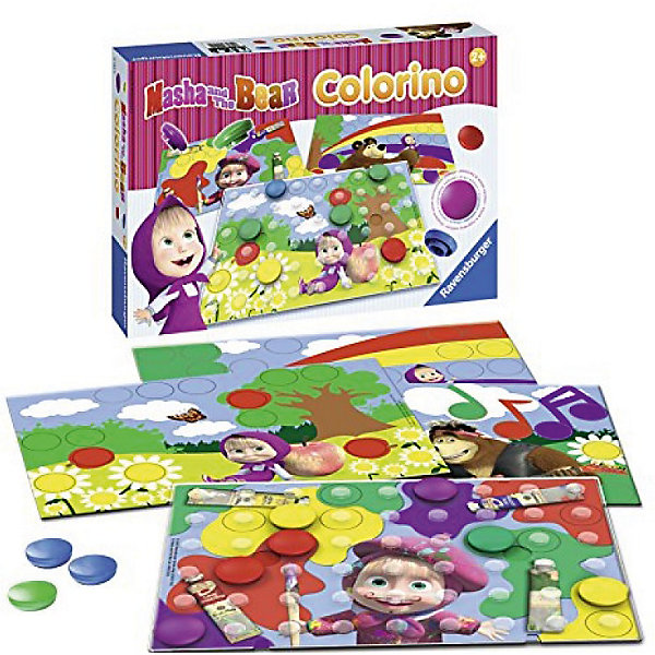 Настольная игра Маша и Медведь Колорино, RavensburgerИзучаем цвета и формы<br>В этой игре Colorino ребенок ознакомится со всеми основными цветами и научится сортировать их в легкой игровой форме. <br><br>Игра составлена специально для малышей от 2-х лет и содержит красочные шашки большого размера. <br>Правила игры просты: малыш выбирает цветную картинку или картинку с черно-белым рисунком. Выбранную картинку закрепите на прозрачном поле. Если малыш выбрал цветную картинку, то ему нужно расставить цветные шашки в соответствии с цветом на картинке. На черно-белой картинке малыш может выставить шашки любого цвета. <br><br>Игра развивает мелкую моторику, творческие способности<br><br>Дополнительная информация:<br><br>Количество игроков: 1 <br>Размер коробки: 33,5 х 23 x 5,5 см<br>В комплекте: <br>4 картинки <br>1 прозрачная таблица <br>22 игральные цветные шашки<br><br>Настольную игру Маша и Медведь Колорино, Ravensburger (Равенсбургер) можно купить в нашем магазине.<br>Ширина мм: 335; Глубина мм: 230; Высота мм: 55; Вес г: 722; Возраст от месяцев: 24; Возраст до месяцев: 72; Пол: Унисекс; Возраст: Детский; SKU: 4708090;