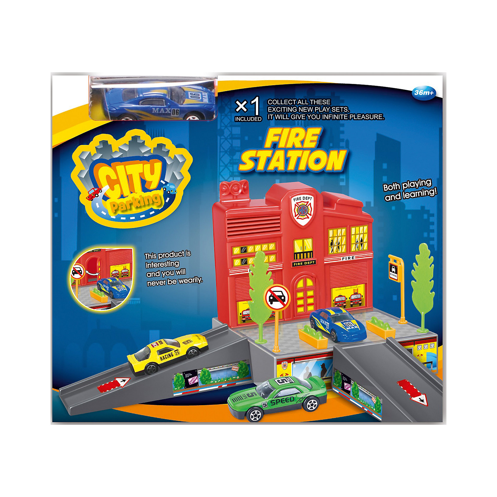 - Набор Пожарная станция с машинкой, Dave Toy игровой набор dave toy заправочная станция с 1 машинкой
