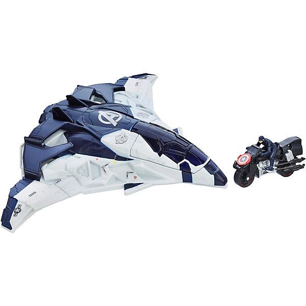 Квинджет МстителейИгрушки<br>Квинджет Мстителей станет отличным подарком для всех юных поклонников популярного фильма Мстители (Avengers). Ваш ребенок сможет придумать и разыграть множество новых историй о приключениях любимых героев. В комплект входят впечатляющий летательный аппарат квинджет, фигурка Капитана Америка и его мотоцикл, который можно запустить прямо из летательного аппарата. Самолет и мотоцикл выполнены из качественного прочного пластика с высокой степенью детализации и выглядят очень эффектно и реалистично. В кабину квинджета можно поместить сразу три мини-фигурки (приобретаются отдельно). Фигурка героя очень похожа на своего экранного персонажа. Капитан Америка - это популярный супергерой, отличающийся большой силой, ловкостью и выносливостью, символ героизма и патриотизма. Игрушка совместима с набором Башня мстителей.<br><br>Дополнительная информация:<br><br>- В комплекте: летательный аппарат, фигурка персонажа (Капитан Америка), мотоцикл.<br>- Материал: пластик.<br>- Размер самолета: 27 см.<br>- Размер мотоцикла: 10 см.<br>- Размер упаковки: 34 x 9 x 23 см.<br>- Вес: 0,75 кг.<br><br>Квинджет Мстителей, Hasbro, можно купить в нашем интернет-магазине.<br><br>Ширина мм: 92<br>Глубина мм: 343<br>Высота мм: 229<br>Вес г: 480<br>Возраст от месяцев: 48<br>Возраст до месяцев: 192<br>Пол: Мужской<br>Возраст: Детский<br>SKU: 4708238