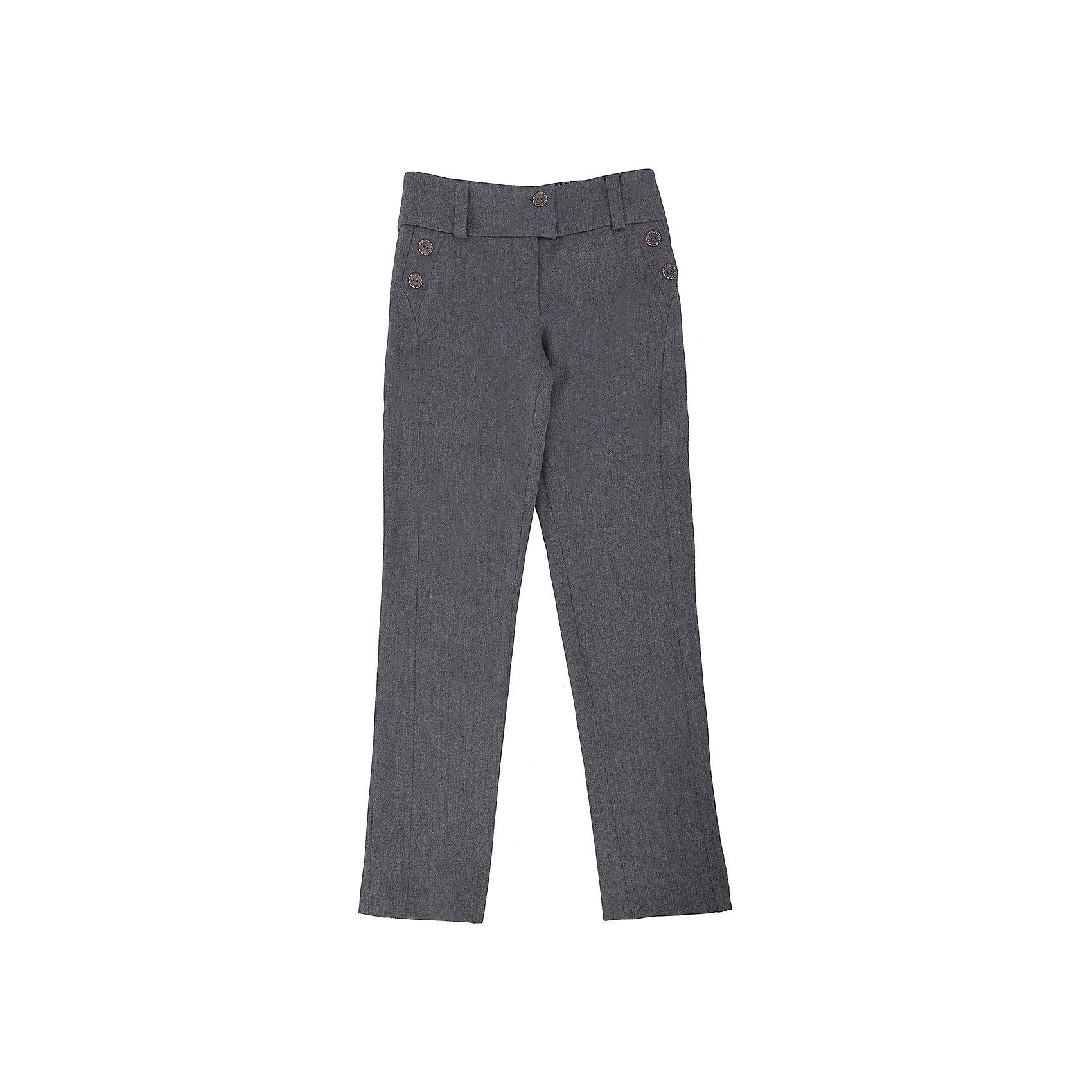 Брюки для девочки Диана SkylakeБрюки для девочки Диана от известного бренда Skylake<br>Зауженные брюки на широком поясе, выполнены из однотонной ткани .<br>Пояс брюк с застежкой на две пуговицы. Застежка - гульфик на  молнии. <br>Шлевки пояса выполнены из ткани-компаньона в клетку. <br>На задних и передних половинках брюк  имеются вертикальные  рельефные швы.<br>Бочки передних половинок брюк выполнены из ткани в клетку и оформлены<br>декоративным элементом с пуговицами. <br>Состав:<br>Ткань верха:60%п/э 35%виск 5%лайкра (ПУ)<br><br>Ширина мм: 215<br>Глубина мм: 88<br>Высота мм: 191<br>Вес г: 336<br>Цвет: серый<br>Возраст от месяцев: 84<br>Возраст до месяцев: 96<br>Пол: Женский<br>Возраст: Детский<br>Размер: 128,128,134,146,152,158,140<br>SKU: 4709851