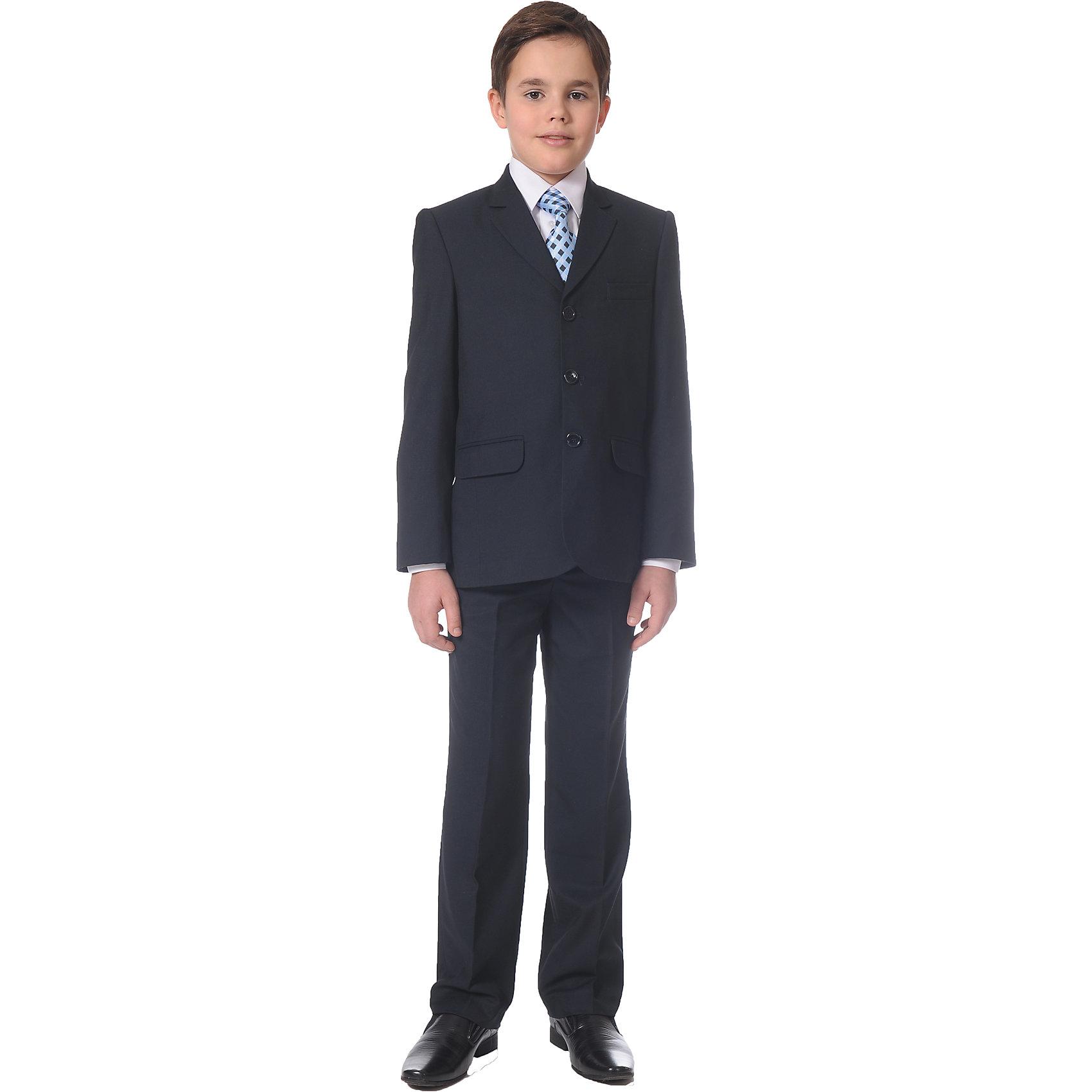 Костюм для мальчика Президент SkylakeКостюмы и пиджаки<br>Характеристики товара:<br><br>• цвет: синий<br>• материал: 80% полиэстер, 20% вискоза<br>• подкладка: 47% вискоза, 53% полиэстер<br>• сезон: демисезон<br>• классический силуэт<br>• однобортный пиджак<br>• лацканы пиджака удлиненные узкие<br>• нагрудный карман<br>• с одним внутренним прорезным карманом<br>• застежка пиджака: пуговицы<br>• брюки со стрелками прямые<br>• боковые карманы<br>• застежка: пуговица, молния<br>• шлевки для ремня<br>• регулируемая талия<br>• легкий уход <br>• страна бренда: Российская Федерация<br>• страна производства: Российская Федерация<br><br>Классический школьный костюм для мальчика. Брюки со стрелками прямые. Пояс притачной на корсаже с регуляторами на пуговицах. Пиджак на подкладке с одним внутренним прорезным карманом.<br><br>Это изделие сшито из качественного материала, хорошо сидит на детской фигуре, легко стирается.<br><br>Костюм для мальчика Президент от бренда SKY LAKE (Скай Лэйк) можно купить в нашем интернет-магазине.<br><br>Ширина мм: 247<br>Глубина мм: 16<br>Высота мм: 140<br>Вес г: 225<br>Цвет: синий<br>Возраст от месяцев: 144<br>Возраст до месяцев: 156<br>Пол: Мужской<br>Возраст: Детский<br>Размер: 158,122,128,134,146,152,134,140<br>SKU: 4709995