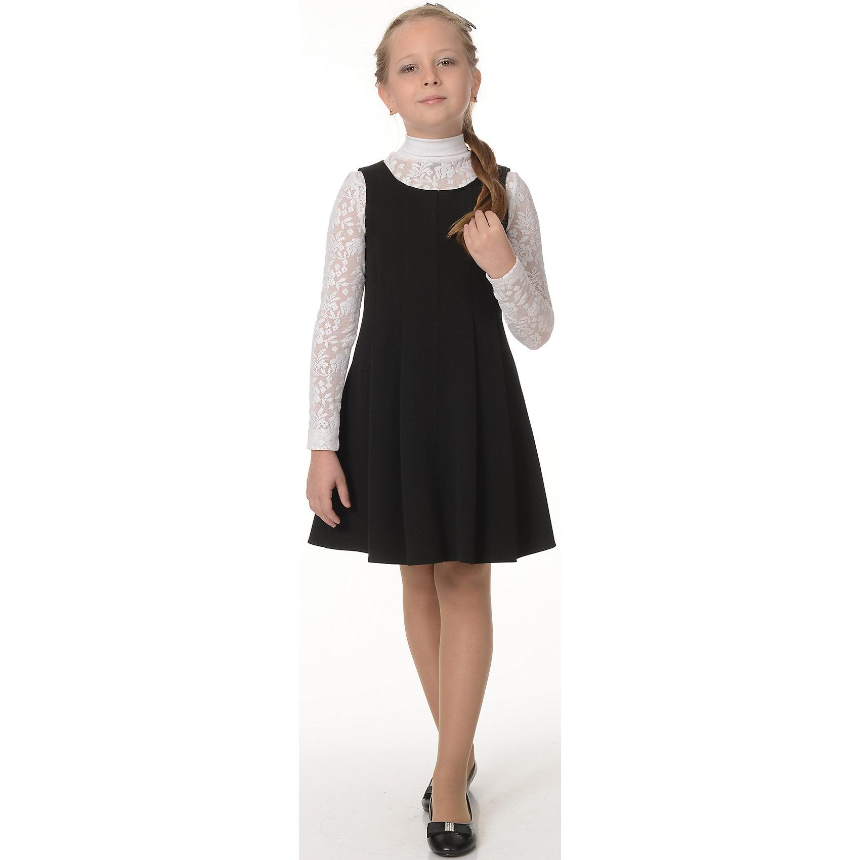 Сарафан для девочки Рио-Габардин SkylakeПлатья и сарафаны<br>Характеристики товара:<br><br>• цвет: черный<br>• материал: 60% полиэстер, 35% вискоза, 5% лайкра<br>• полуприлегающий силуэт<br>• расклешенный<br>• застежка: молния<br>• рукава реглан<br>• легкий уход <br>• страна бренда: Российская Федерация<br>• страна производства: Российская Федерация<br><br>Школьный сарафан для девочки Рио-Габардин от известного бренда Skylake. Классический сарафан выполнен из однотонной ткани рио-габардин черного цвета. Сарафан  прилегающего силуэта, к низу расклешеный. Вырез горловины круглый. Спинка со средним швом и  длинной потайной застежкой «молнией». <br><br>Это изделие сшито из качественного материала, хорошо сидит на детской фигуре, легко стирается.<br><br>Сарафан для девочки Рио-Габардин от бренда SKY LAKE (Скай Лэйк) можно купить в нашем интернет-магазине.<br><br>Ширина мм: 236<br>Глубина мм: 16<br>Высота мм: 184<br>Вес г: 177<br>Цвет: черный<br>Возраст от месяцев: 96<br>Возраст до месяцев: 108<br>Пол: Женский<br>Возраст: Детский<br>Размер: 134,128,140,158,152,146<br>SKU: 4710084