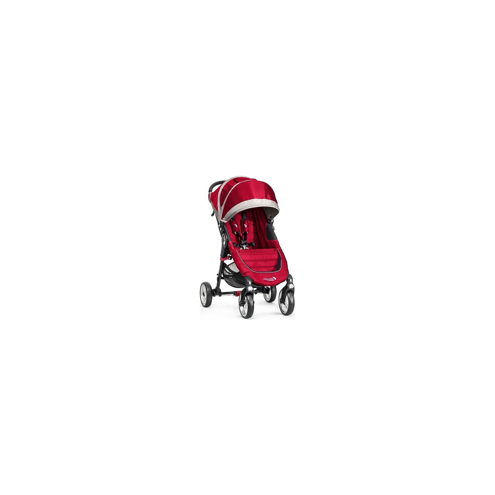 Baby Jogger Прогулочная коляска City Mini Single 4Wheel, Baby Jogger, красно-серый прогулочная коляска liko baby city style bt 109 grey