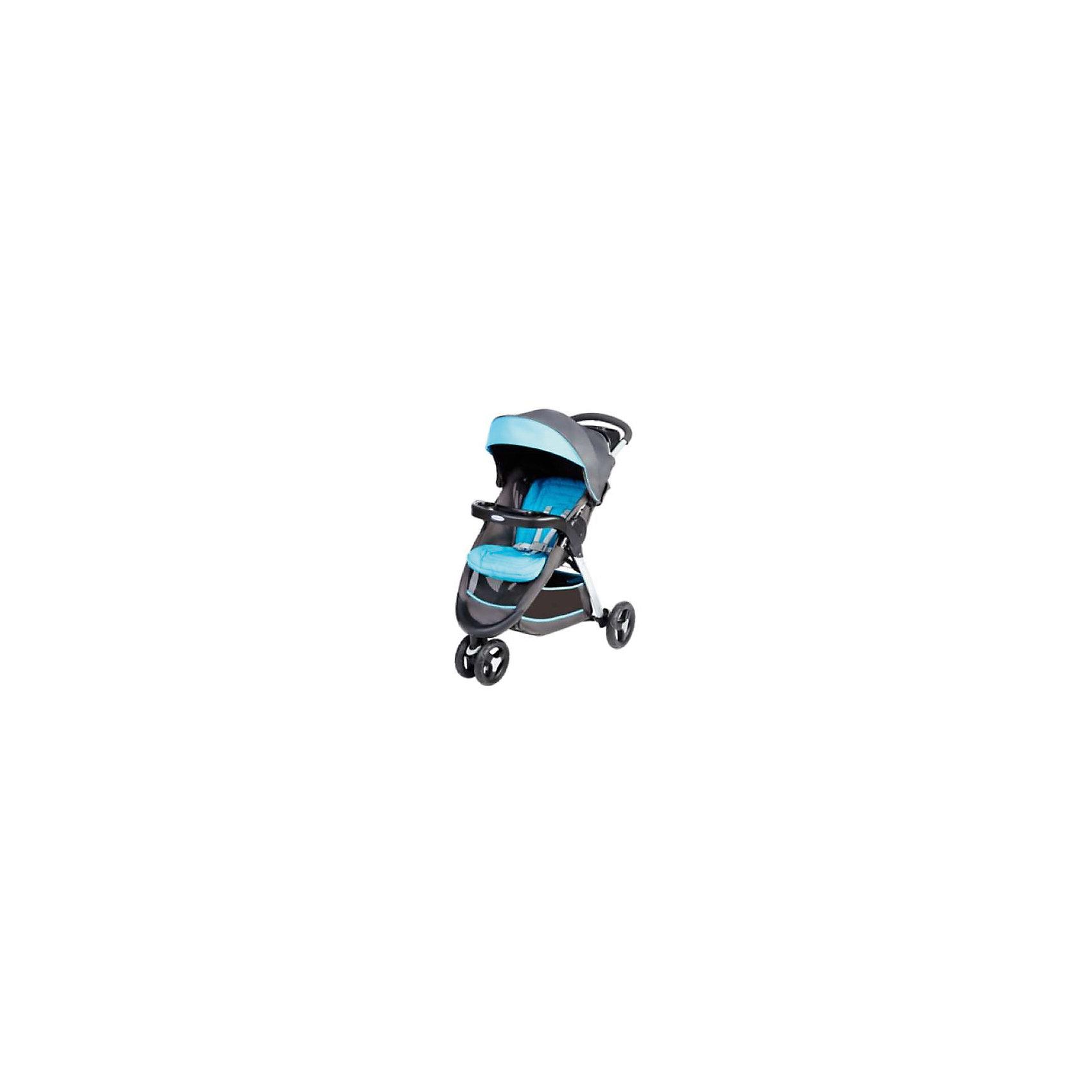 Graco Прогулочная коляска Fastaction Fold, Graco, серый-голубой коляска graco graco прогулочная коляска mirage w parent tray and boot jaffa stripe