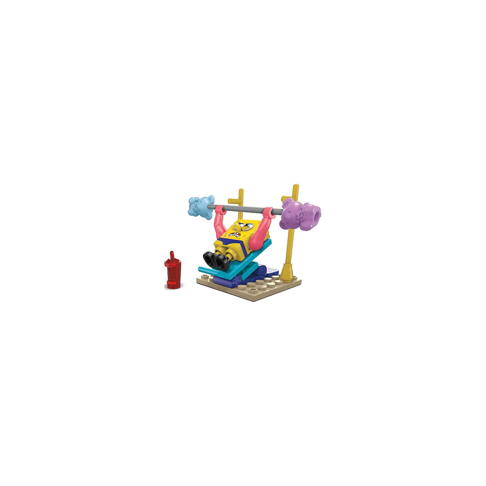 Игровой набор Губка Боб MEGA BLOKSПластмассовые конструкторы<br>Игровой набор Губка Боб MEGA BLOKS (МЕГА БЛОКС) – это увлекательный мини-набор с фигуркой и маленькой конструкцией с подвижными элементами.<br>Настало время твоим любимым героям Бикини Боттом немного пошалить! Все на Пляже мидий будут завидовать Губке Бобу Квадратные штаны, после того, как он накачает мышцы в сумасшедшем спортзале и станет Мускул Бобом Могучие штаны. Собери набор, нажимай на скамейку и Губка Боб будет поднимать штангу со снарядами в виде плюшевых мишек. Также для спортивных занятий у Губки Боба есть один важный аксессуар - бутылка с водой.<br><br>Дополнительная информация:<br><br>- В наборе: одна мини-фигурка Губки Боба с бутылкой для воды, сборный тренажерный зал с подъемными гирями - плюшевыми медведями<br>- Количество деталей: 26<br>- Материал: прочный, безопасный пластик<br>- Размер упаковки: 4,5 x 10 x 12 см.<br>- Вес: 59 гр.<br><br>Игровой набор Губка Боб MEGA BLOKS (МЕГА БЛОКС) можно купить в нашем интернет-магазине.<br><br>Ширина мм: 45<br>Глубина мм: 100<br>Высота мм: 120<br>Вес г: 59<br>Возраст от месяцев: 60<br>Возраст до месяцев: 120<br>Пол: Унисекс<br>Возраст: Детский<br>SKU: 4713563
