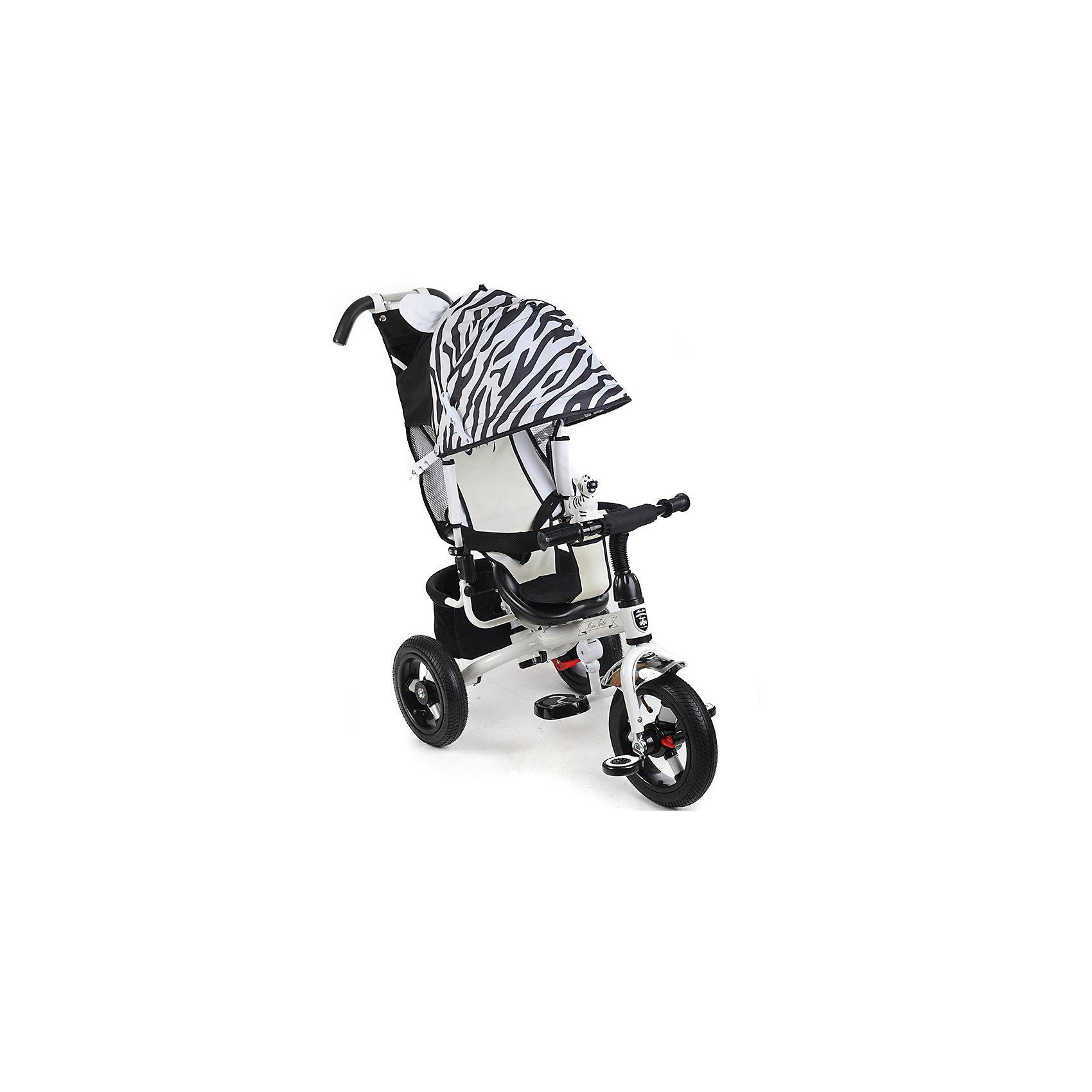 Велосипед трехколесный Зебра, MINI TRIKEКрасивый и удобный велосипед - предмет желаний огромного количества детей! Также для родителей он сможет выполнять функции коляски. Велосипед приводится в действие, когда начинаешь крутить педали. На нем очень комфортно ездить благодаря продуманному размеру колес, их размер точно вымерен для того, чтобы обеспечить устойчивость на поворотах. С помощью велосипеда ребенок будет развивать внимательность и пространственное мышление, а также учиться правильно использовать пространство.<br>Велосипед выполнен в стильной расцветке, он произведен из высококачественных материалов. Эти материалы безопасны для ребенка. Он имеет созданную специалистами конструкцию, которая обеспечит ребенку комфорт и безопасность.<br><br>Дополнительная информация:<br><br>цвет: черный, белый;<br>подножка складывается;<br>сиденье с высокой воздухопроницаемой спинкой и с мягким тканевым вкладышем;<br>можно увеличить или уменьшить расстояние от сиденья до руля;<br>пластиковые колеса диаметром 12 и 10 (переднее и задние соответственно);<br>ножной тормоз на задние колеса;<br>регулируемый большой капор с фиксатором уровней открытости;<br>разъемный навес;<br>смотровое окно в задней части навеса;<br>удобный вместительный багажник;<br>сумочка для мелочей на ручке управления;<br>клаксон-игрушка.<br>размер: 83x49x100 см.<br><br>Велосипед трехколесный Зебра, от марки MINI TRIKE можно купить в нашем магазине.<br><br>Ширина мм: 940<br>Глубина мм: 520<br>Высота мм: 1100<br>Вес г: 10500<br>Возраст от месяцев: 12<br>Возраст до месяцев: 60<br>Пол: Унисекс<br>Возраст: Детский<br>SKU: 4715386