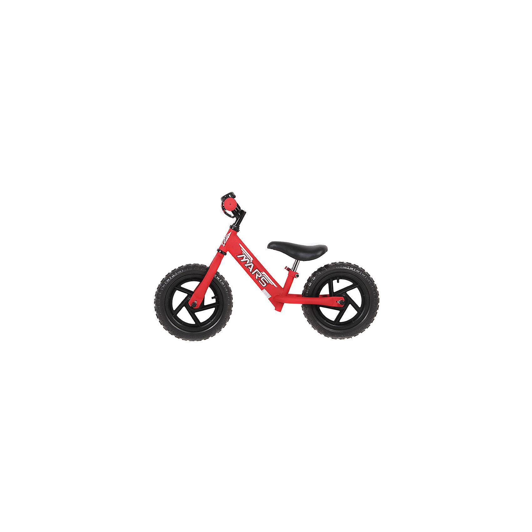 Велобег, красный, NEW MARSДля малышей от трех до пяти лет специалисты создали велобег - заменитель двухколесного велосипеда.  Это велосипед - без педалей и цепи, он учит в первую очередь держать равновесие, на нем ребенок не сможет сильно разогнаться. На велобеге очень комфортно ездить благодаря продуманному размеру колес, их размер точно вымерен для того, чтобы обеспечить устойчивость на поворотах. С помощью велобега ребенок будет также развивать внимательность и пространственное мышление, а также учиться правильно использовать пространство.<br>Велобег выполнен в стильной расцветке, он произведен из высококачественных материалов. Эти материалы безопасны для ребенка. Он имеет созданную специалистами конструкцию, которая обеспечит ребенку комфорт и безопасность. Эта модель отличается удобным сиденьем, легкостью, возможностью отрегулировать руль и сиденье под рост ребенка.<br><br>Дополнительная информация:<br><br>цвет: красный;<br>прочная и легкая конструкция;<br>удобный руль;<br>диаметр колес 12 дюймов;<br>мягкое сидение  с возможностью регулировки высоты;<br>рама и вилка сделаны из алюминиевого сплава;<br>регулировка положения высоты руля;<br>резиновые колеса;<br>звонок.<br><br>Велобег, красный, от марки NEW MARS можно купить в нашем магазине.<br><br>Ширина мм: 800<br>Глубина мм: 300<br>Высота мм: 400<br>Вес г: 5200<br>Возраст от месяцев: 36<br>Возраст до месяцев: 60<br>Пол: Унисекс<br>Возраст: Детский<br>SKU: 4715392