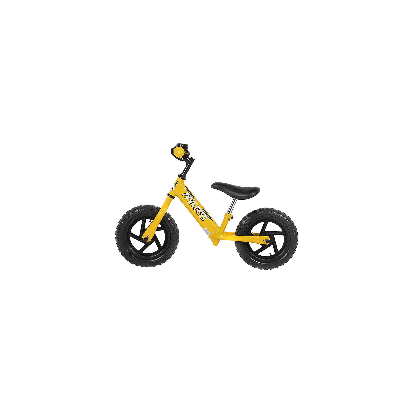 Беговел, желтый, NEW MARSДля малышей от трех до пяти лет специалисты создали велобег - заменитель двухколесного велосипеда.  Это велосипед - без педалей и цепи, он учит в первую очередь держать равновесие, на нем ребенок не сможет сильно разогнаться. На велобеге очень комфортно ездить благодаря продуманному размеру колес, их размер точно вымерен для того, чтобы обеспечить устойчивость на поворотах. С помощью велобега ребенок будет также развивать внимательность и пространственное мышление, а также учиться правильно использовать пространство.<br>Велобег выполнен в стильной расцветке, он произведен из высококачественных материалов. Эти материалы безопасны для ребенка. Он имеет созданную специалистами конструкцию, которая обеспечит ребенку комфорт и безопасность. Эта модель отличается удобным сиденьем, легкостью, возможностью отрегулировать руль и сиденье под рост ребенка.<br><br>Дополнительная информация:<br><br>цвет: желтый;<br>прочная и легкая конструкция;<br>удобный руль;<br>диаметр колес 12 дюймов;<br>мягкое сидение  с возможностью регулировки высоты;<br>рама и вилка сделаны из алюминиевого сплава;<br>регулировка положения высоты руля;<br>резиновые колеса;<br>звонок.<br><br>Велобег, желтый, от марки NEW MARS можно купить в нашем магазине.<br><br>Ширина мм: 800<br>Глубина мм: 300<br>Высота мм: 400<br>Вес г: 5200<br>Возраст от месяцев: 36<br>Возраст до месяцев: 60<br>Пол: Унисекс<br>Возраст: Детский<br>SKU: 4715393