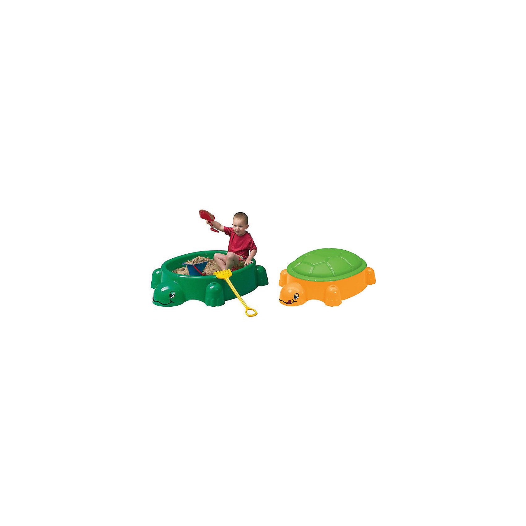 Песочница с крышкой Черепаха, PARADISOУдобная симпатичная песочница позволит малышу играть с чистым песком. Крышка защитит песок от загрязнений и дождя. Это - идеальный вариант для летнего отдыха на даче и огромные возможности для самых разных игр! С помощью нее ребенок сможет выплескивать свою энергию в безопасном виде физической активности.<br>Песочница выполнена в виде черепахи в яркой расцветке, она произведена из высококачественных материалов. Эти материалы безопасны для ребенка. Песочница предназначена для детишек от года. Она легкая, компактная и безопасная. <br><br>Дополнительная информация:<br><br>цвет: зеленый;<br>прочная и легкая конструкция;<br>высококачественные материалы (пластик);<br>размер: 115х83х35 см.<br><br>Песочницу с крышкой Черепаха от марки PARADISO можно купить в нашем магазине.<br><br>Ширина мм: 1150<br>Глубина мм: 830<br>Высота мм: 350<br>Вес г: 5420<br>Возраст от месяцев: 12<br>Возраст до месяцев: 60<br>Пол: Унисекс<br>Возраст: Детский<br>SKU: 4715397