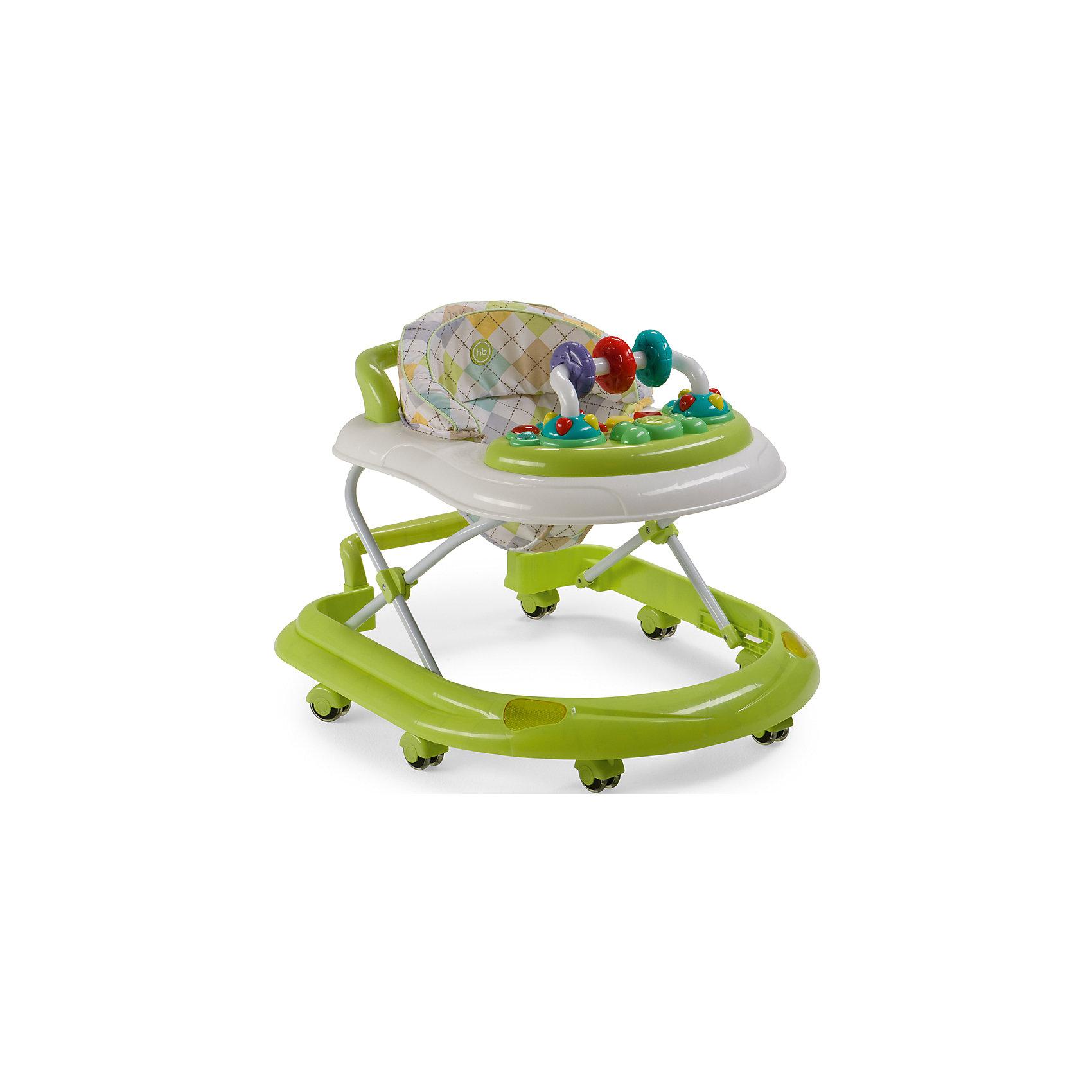 Ходунки Smiley V2, Happy Baby, зеленыйХодунки<br>Классические ходунки SMILEY V2 развивают координацию движений и помогут ребёнку научиться держать равновесие. <br><br>Мягкие цвета ходунков привлекут внимание ребенка. Игровая панель со звуковыми эффектами и игрушками поможет развить у малыша зрение, слух, хватательный рефлекс и мелкую моторику. Мягкое, удобное сиденье легко регулируется в 3-х положениях в зависимости от роста. <br><br>Ходунки SMILEY V2 оборудованы специальными силиконовыми колесами, которые не поцарапают напольное покрытие. Игровая панель работает от 2-х пальчиковых батареек (тип АА).<br><br>Дополнительная информация::<br><br>- Максимальный вес ребенка: 12 кг<br>- Вес ходунков: 3,5 кг<br>- Габариты в сложенном виде ДхШхВ: 70х59,5х30 см<br>- Габариты в разложенном виде ДхШхВ: 70х59,5х54 см<br>- Регулируемое сиденье: да<br>- Регулируются по высоте, 3 положения<br>- Развивают координацию движений<br>- Учат ребенка держать равновесие<br>- На задней части ходунков расположена ручка, которая позволяет использовать их в качестве каталки<br>- Силиконовые колеса, 8 шт<br>- Съемная игровая панель со звуковыми и световыми эффектами: <br>   12 мелодий<br>- Развивающие игрушки механически вращаются<br>- Для работы игровой панели необходимо 2 батарейки типа АА<br><br>Ходунки Smiley V2, Happy Baby, зеленый можно купить в нашем магазине.<br><br>Ширина мм: 300<br>Глубина мм: 595<br>Высота мм: 700<br>Вес г: 17000<br>Цвет: зеленый<br>Возраст от месяцев: 7<br>Возраст до месяцев: 15<br>Пол: Унисекс<br>Возраст: Детский<br>SKU: 4715785