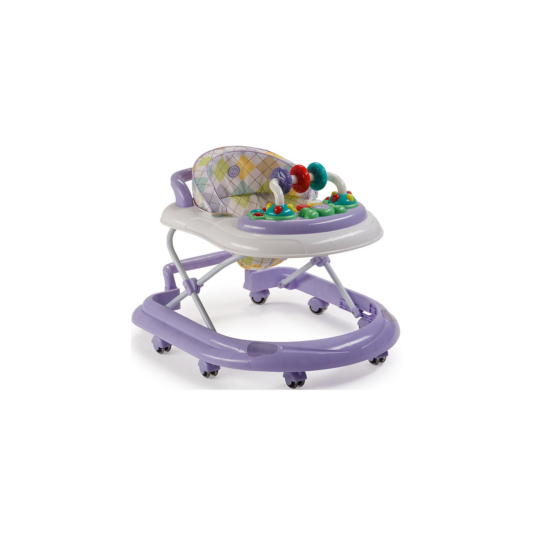 Ходунки Smiley V2, Happy Baby, лиловыйХодунки<br>Классические ходунки SMILEY V2 развивают координацию движений и помогут ребёнку научиться держать равновесие. <br><br>Мягкие цвета ходунков привлекут внимание ребенка. Игровая панель со звуковыми эффектами и игрушками поможет развить у малыша зрение, слух, хватательный рефлекс и мелкую моторику. Мягкое, удобное сиденье легко регулируется в 3-х положениях в зависимости от роста. <br><br>Ходунки SMILEY V2 оборудованы специальными силиконовыми колесами, которые не поцарапают напольное покрытие. Игровая панель работает от 2-х пальчиковых батареек (тип АА).<br><br>Дополнительная информация::<br><br>- Максимальный вес ребенка: 12 кг<br>- Вес ходунков: 3,5 кг<br>- Габариты в сложенном виде ДхШхВ: 70х59,5х30 см<br>- Габариты в разложенном виде ДхШхВ: 70х59,5х54 см<br>- Регулируемое сиденье: да<br>- Регулируются по высоте, 3 положения<br>- Развивают координацию движений<br>- Учат ребенка держать равновесие<br>- На задней части ходунков расположена ручка, которая позволяет использовать их в качестве каталки<br>- Силиконовые колеса, 8 шт<br>- Съемная игровая панель со звуковыми и световыми эффектами: <br>   12 мелодий<br>- Развивающие игрушки механически вращаются<br>- Для работы игровой панели необходимо 2 батарейки типа АА<br><br>Ходунки Smiley V2, Happy Baby, лиловый можно купить в нашем магазине.<br><br>Ширина мм: 300<br>Глубина мм: 595<br>Высота мм: 700<br>Вес г: 17000<br>Цвет: лиловый<br>Возраст от месяцев: 7<br>Возраст до месяцев: 15<br>Пол: Унисекс<br>Возраст: Детский<br>SKU: 4715786