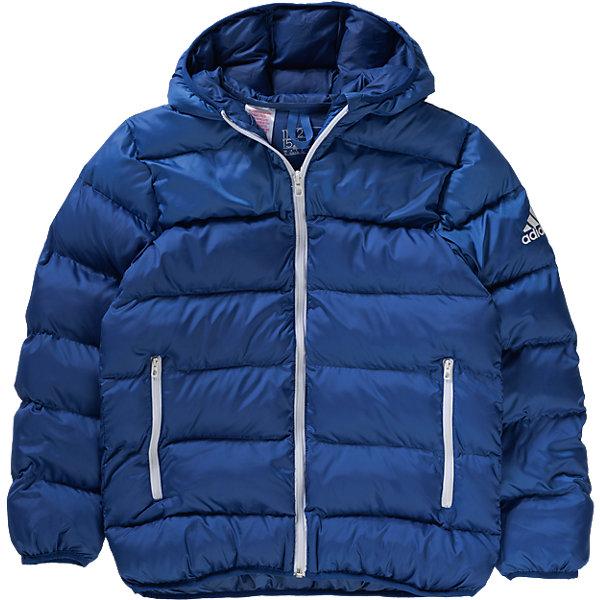 Куртка adidasВерхняя одежда<br>Куртка  Аdidas (Адидас).<br><br>Характеристики:<br><br>• Цвет: Синий.<br>• Сезон: осень-зима.<br>• Состав: 100% полиэстер; утеплитель: 100% полиэстер<br>• Передние прорезные карманы на молнии<br>• Застежка на молнию; <br>• Капюшон<br>• Эластичные манжеты и нижний край<br>• Водоотталкивающая ткань; <br>• Утеплитель из синтетического пуха; <br>• Светоотражающие детали<br>• Классический крой<br><br>Куртка от известного спортивного бренда Аdidas (Адидас).  Эта теплая спортивная куртка отлично впишется в гардероб  вашего ребенка. Куртка синего цвета. Данная модель выполнена из гладкого текстиля с водоотталкивающим покрытием. Куртка прямого кроя с синтепоновым утеплителем Карманы прорезные, на молниях контрастного белого цвета. Застежка на молнию, узкий эластичный кант, светоотражающие элементы. В такой  куртке ребенок будет комфортно себя чувствовать во время активных прогулок. Данная модель хорошо сидит на ребенке, обеспечивают комфорт и отлично сочетается с другой спортивной одеждой. <br><br>Куртку Аdidas (Адидас), можно купить в нашем интернет-магазине.<br><br>Ширина мм: 444<br>Глубина мм: 235<br>Высота мм: 142<br>Вес г: 556<br>Цвет: синий<br>Возраст от месяцев: 108<br>Возраст до месяцев: 120<br>Пол: Мужской<br>Возраст: Детский<br>Размер: 140,176,164,152<br>SKU: 4717075