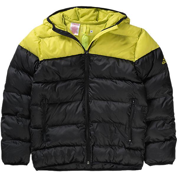 Куртка adidasВерхняя одежда<br>Куртка  Аdidas (Адидас).<br><br>Характеристики:<br><br>• Цвет: Черный, желтый.<br>• Сезон: осень-зима.<br>• Состав: 100% полиэстер; утеплитель: 100% полиэстер<br>• Передние прорезные карманы на молнии<br>• Застежка на молнию; <br>• Капюшон<br>• Эластичные манжеты и нижний край<br>• Водоотталкивающая ткань; <br>• Утеплитель из синтетического пуха; <br>• Светоотражающие детали<br>• Классический крой<br><br>Куртка от известного спортивного бренда Аdidas (Адидас).  Эта теплая спортивная куртка отлично впишется в гардероб  вашего ребенка. Куртка черного цвета, декорирована ярко желтыми деталями - капюшон и плечевой пояс. Данная модель выполнена из гладкого текстиля с водоотталкивающим покрытием. Куртка прямого кроя с синтепоновым утеплителем Карманы прорезные, на молнии. Застежка на молнию, узкий эластичный кант, светоотражающие элементы. В такой  куртке ребенок будет комфортно себя чувствовать во время активных прогулок. Данная модель хорошо сидит на ребенке, обеспечивают комфорт и отлично сочетается с другой спортивной одеждой. <br><br>Куртку Аdidas (Адидас), можно купить в нашем интернет-магазине.<br><br>Ширина мм: 520<br>Глубина мм: 240<br>Высота мм: 144<br>Вес г: 621<br>Цвет: черный/желтый<br>Возраст от месяцев: 120<br>Возраст до месяцев: 132<br>Пол: Мужской<br>Возраст: Детский<br>Размер: 152,176,140,164<br>SKU: 4717082
