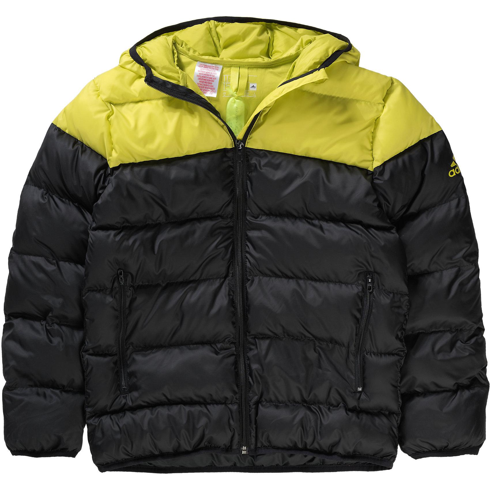 Куртка adidasВерхняя одежда<br>Куртка  Аdidas (Адидас).<br><br>Характеристики:<br><br>• Цвет: Черный, желтый.<br>• Сезон: осень-зима.<br>• Состав: 100% полиэстер; утеплитель: 100% полиэстер<br>• Передние прорезные карманы на молнии<br>• Застежка на молнию; <br>• Капюшон<br>• Эластичные манжеты и нижний край<br>• Водоотталкивающая ткань; <br>• Утеплитель из синтетического пуха; <br>• Светоотражающие детали<br>• Классический крой<br><br>Куртка от известного спортивного бренда Аdidas (Адидас).  Эта теплая спортивная куртка отлично впишется в гардероб  вашего ребенка. Куртка черного цвета, декорирована ярко желтыми деталями - капюшон и плечевой пояс. Данная модель выполнена из гладкого текстиля с водоотталкивающим покрытием. Куртка прямого кроя с синтепоновым утеплителем Карманы прорезные, на молнии. Застежка на молнию, узкий эластичный кант, светоотражающие элементы. В такой  куртке ребенок будет комфортно себя чувствовать во время активных прогулок. Данная модель хорошо сидит на ребенке, обеспечивают комфорт и отлично сочетается с другой спортивной одеждой. <br><br>Куртку Аdidas (Адидас), можно купить в нашем интернет-магазине.<br><br>Ширина мм: 520<br>Глубина мм: 240<br>Высота мм: 144<br>Вес г: 621<br>Цвет: черный/желтый<br>Возраст от месяцев: 120<br>Возраст до месяцев: 132<br>Пол: Мужской<br>Возраст: Детский<br>Размер: 152,176,164,140<br>SKU: 4717082