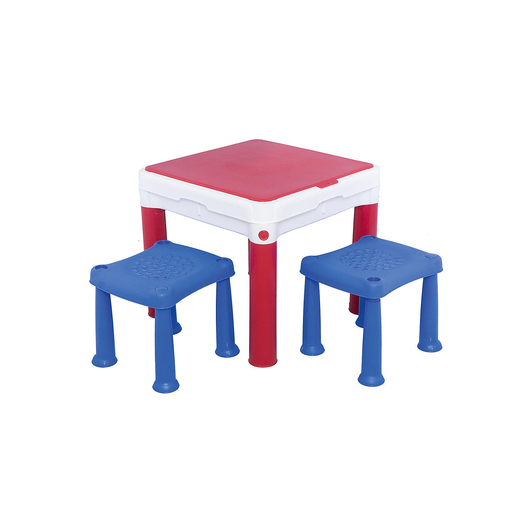 Столик для игр с конструктором (конструктор не входит в комплект)Столик для игр - это просто находка для вашего малыша! Очень удобная двухсторонняя столешница с табуретками. На одной стороне можно играть с любыми игрушками, заниматься рисованием и другими играми, другая сторона предназначена для игр с конструктором. <br>Конструктор в комплект не входит.<br><br>Дополнительная информация:<br><br>- 2 табуретки в комплекте.<br>- Возраст: от 2-х лет.<br>- Вес 4,8 кг.<br>- Размеры: 50,5x50,5x44,5 см.<br><br>Столик для игр с конструктором можно купить в нашем магазине.<br><br>Ширина мм: 550<br>Глубина мм: 550<br>Высота мм: 445<br>Вес г: 4800<br>Возраст от месяцев: 24<br>Возраст до месяцев: 96<br>Пол: Унисекс<br>Возраст: Детский<br>SKU: 4718339
