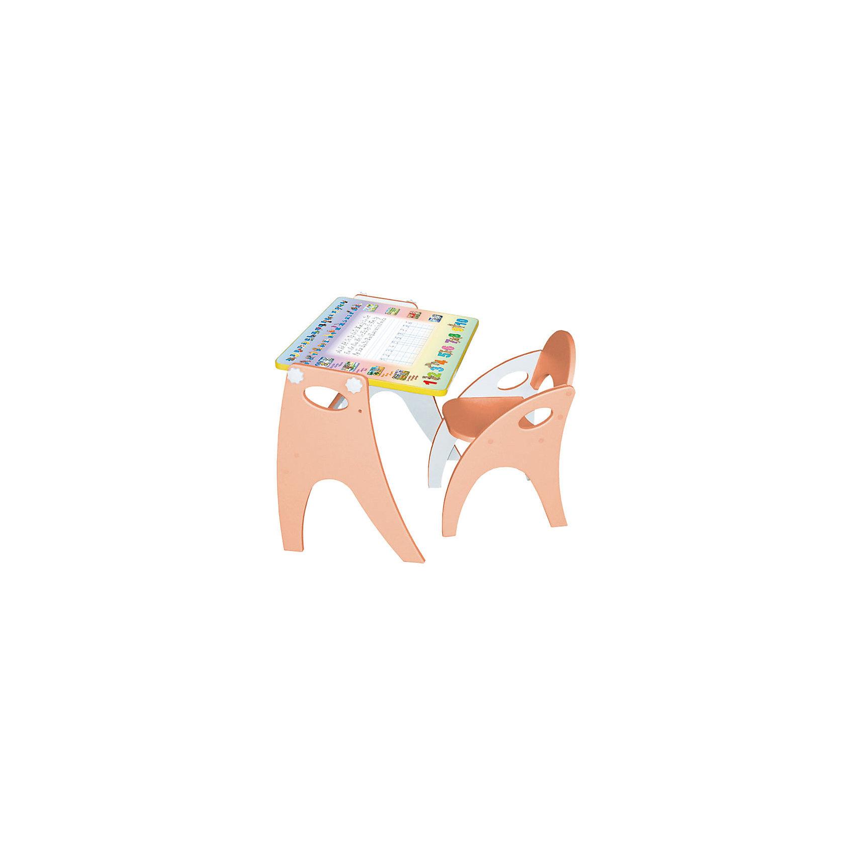 Набор мебели Буквы-цифры, персиковыйНабор детской мебели Буквы-цифры состоит из двух предметов: столик (трансформер) и стульчик.  Столик  имеет механизм трансформации, который позволяет превращать столик в парту и мольберт. Поворот осуществляется при помощи поворотного шарнира, а фиксация - скрепляющими барашками. <br><br>Дополнительная информация:<br><br>- Цвет: персиковый<br>- Материал: МДФ<br>- Возраст: от 3-х лет<br>- Вес: 11.5 кг.<br><br>Благодаря такому чудесному приспособлению, ребенок с легкость и большим интересом будет познавать мир букв и цифр!<br><br>Набор мебели Буквы-цифры в персиковом цвете, можно купить в нашем магазине.<br><br>Ширина мм: 600<br>Глубина мм: 120<br>Высота мм: 450<br>Вес г: 11500<br>Возраст от месяцев: 36<br>Возраст до месяцев: 108<br>Пол: Унисекс<br>Возраст: Детский<br>SKU: 4718341