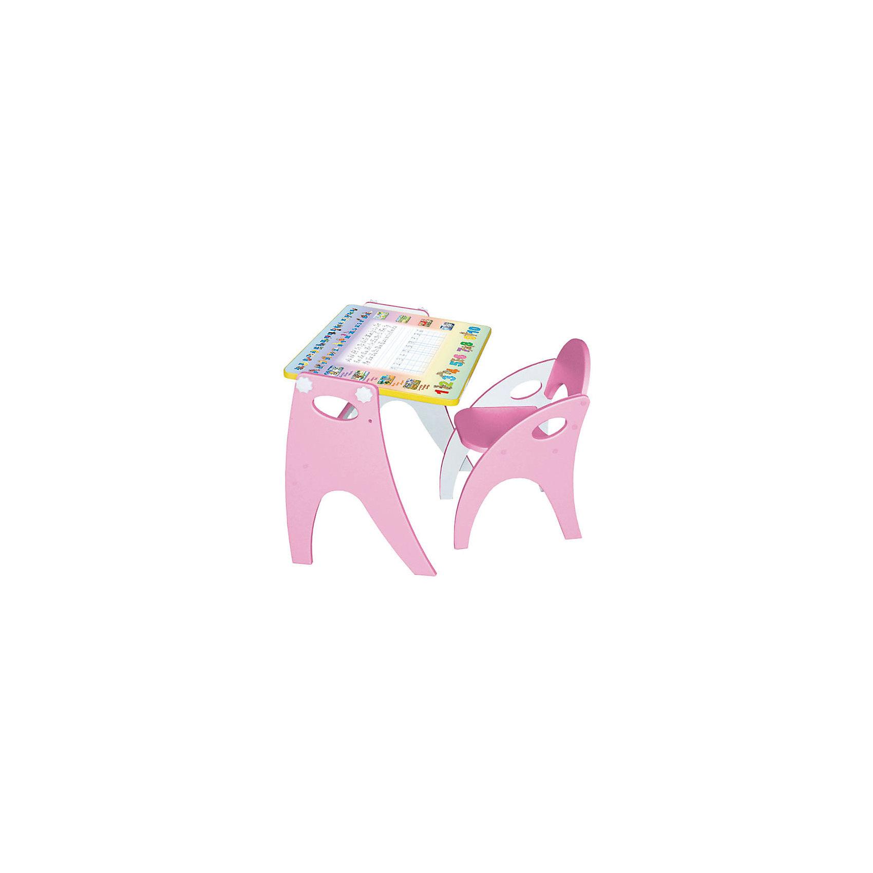 Набор мебели Буквы-цифры, розовыйМебель<br>Набор детской мебели Буквы-цифры состоит из двух предметов: столик (трансформер) и стульчик.  Столик  имеет механизм трансформации, который позволяет превращать столик в парту и мольберт. Поворот осуществляется при помощи поворотного шарнира, а фиксация - скрепляющими барашками. <br><br>Дополнительная информация:<br><br>- Цвет: розовый<br>- Материал: МДФ<br>- Возраст: от 3-х лет<br>- Вес: 11.5 кг.<br><br>Благодаря такому чудесному приспособлению, ребенок с легкость и большим интересом будет познавать мир букв и цифр!<br><br>Набор мебели Буквы-цифры в розовом цвете, можно купить в нашем магазине.<br><br>Ширина мм: 600<br>Глубина мм: 120<br>Высота мм: 450<br>Вес г: 11500<br>Возраст от месяцев: 36<br>Возраст до месяцев: 108<br>Пол: Унисекс<br>Возраст: Детский<br>SKU: 4718342