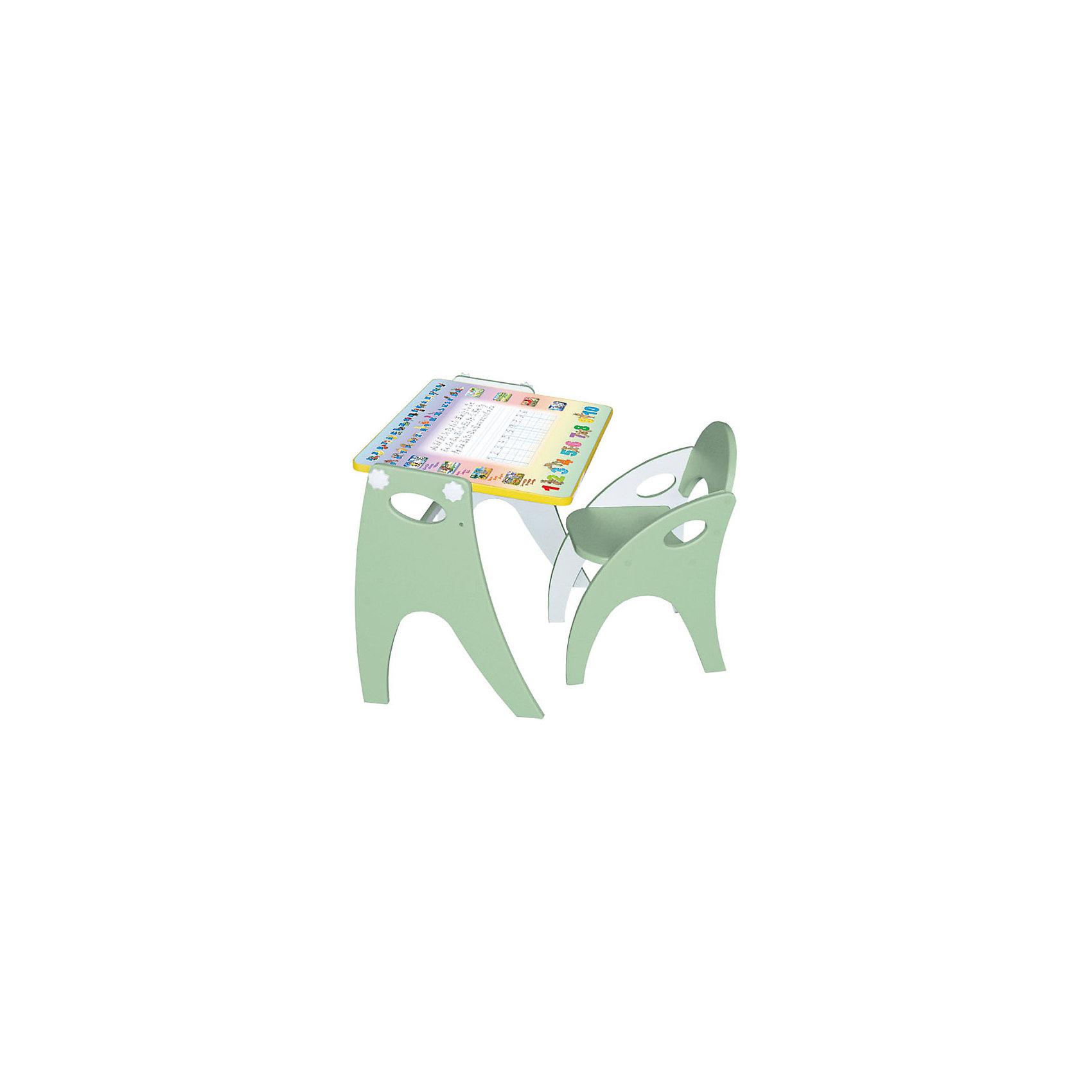 Набор мебели Буквы-цифры, салатовыйНабор детской мебели Буквы-цифры состоит из двух предметов: столик (трансформер) и стульчик.  Столик  имеет механизм трансформации, который позволяет превращать столик в парту и мольберт. Поворот осуществляется при помощи поворотного шарнира, а фиксация - скрепляющими барашками. <br><br>Дополнительная информация:<br><br>- Цвет: салатовый<br>- Материал: МДФ<br>- Возраст: от 3-х лет<br>- Вес: 11.5 кг.<br><br>Благодаря такому чудесному приспособлению, ребенок с легкость и большим интересом будет познавать мир букв и цифр!<br><br>Набор мебели Буквы-цифры в салатовом цвете, можно купить в нашем магазине.<br><br>Ширина мм: 600<br>Глубина мм: 120<br>Высота мм: 450<br>Вес г: 11500<br>Возраст от месяцев: 36<br>Возраст до месяцев: 108<br>Пол: Унисекс<br>Возраст: Детский<br>SKU: 4718343