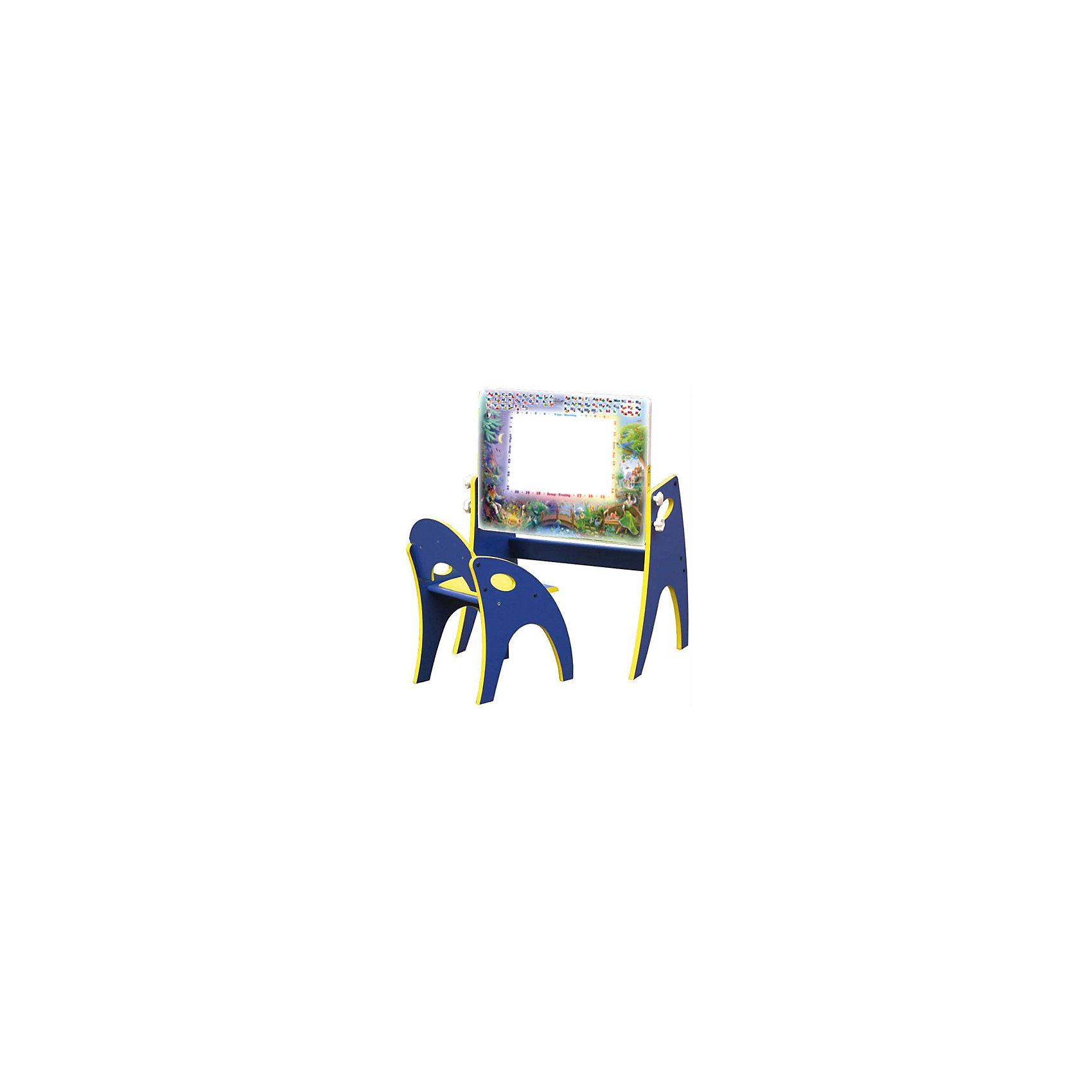 Набор мебели День-ночь, голубойНабор детской мебели День - ночь состоит из двух предметов: столик (трансформер) и стульчик.  Столик  имеет механизм трансформации, который позволяет превращать столик в парту и мольберт. Поворот осуществляется при помощи поворотного шарнира, а фиксация - скрепляющими барашками. <br>Столешница парты изготавливается из МДФ и с одной стороны имеет маркерную, с другой - грифельную поверхность.<br><br>Дополнительная информация:<br><br>- Цвет: голубой<br>- Материал: МДФ<br>- Возраст: от 3-х лет<br>- Вес: 11.5 кг. <br><br>Набор мебели День - ночь в голубом цвете, можно купить в нашем магазине.<br><br>Ширина мм: 600<br>Глубина мм: 120<br>Высота мм: 450<br>Вес г: 11500<br>Возраст от месяцев: 36<br>Возраст до месяцев: 108<br>Пол: Унисекс<br>Возраст: Детский<br>SKU: 4718344