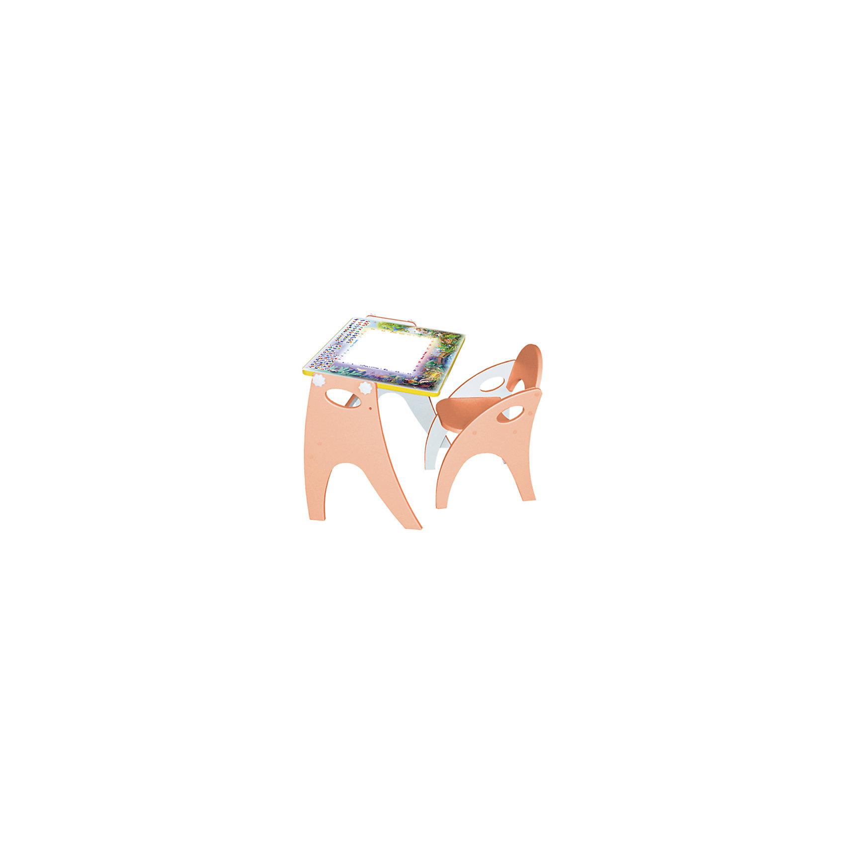 Набор мебели День-ночь, персиковыйНабор детской мебели День - ночь состоит из двух предметов: столик (трансформер) и стульчик.  Столик  имеет механизм трансформации, который позволяет превращать столик в парту и мольберт. Поворот осуществляется при помощи поворотного шарнира, а фиксация - скрепляющими барашками. <br>Столешница парты изготавливается из МДФ и с одной стороны имеет маркерную, с другой - грифельную поверхность.<br><br>Дополнительная информация:<br><br>- Цвет: персиковый<br>- Материал: МДФ<br>- Возраст: от 3-х лет<br>- Вес: 11.5 кг. <br><br>Набор мебели День - ночь в  персиковом цвете, можно купить в нашем магазине<br><br>Ширина мм: 600<br>Глубина мм: 120<br>Высота мм: 450<br>Вес г: 11500<br>Возраст от месяцев: 36<br>Возраст до месяцев: 108<br>Пол: Унисекс<br>Возраст: Детский<br>SKU: 4718345