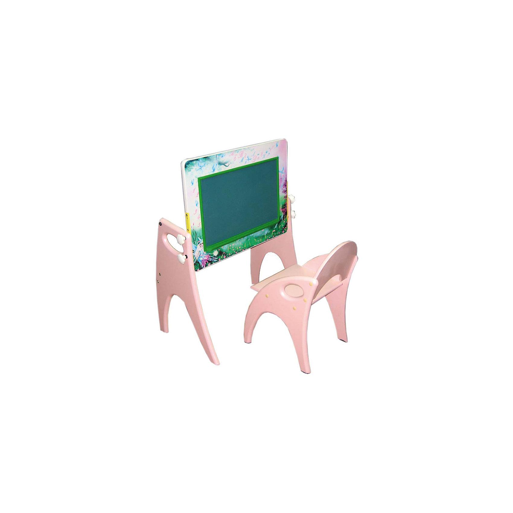 Набор мебели День-ночь, розовыйМебель<br>Набор детской мебели День - ночь состоит из двух предметов: столик (трансформер) и стульчик.  Столик  имеет механизм трансформации, который позволяет превращать столик в парту и мольберт. Поворот осуществляется при помощи поворотного шарнира, а фиксация - скрепляющими барашками. <br>Столешница парты изготавливается из МДФ и с одной стороны имеет маркерную, с другой - грифельную поверхность.<br><br>Дополнительная информация:<br><br>- Цвет: розовый<br>- Материал: МДФ<br>- Возраст: от 3-х лет<br>- Вес: 11.5 кг. <br><br>Набор мебели День - ночь в розовом цвете, можно купить в нашем магазине<br><br>Ширина мм: 600<br>Глубина мм: 120<br>Высота мм: 450<br>Вес г: 11500<br>Возраст от месяцев: 36<br>Возраст до месяцев: 108<br>Пол: Унисекс<br>Возраст: Детский<br>SKU: 4718346
