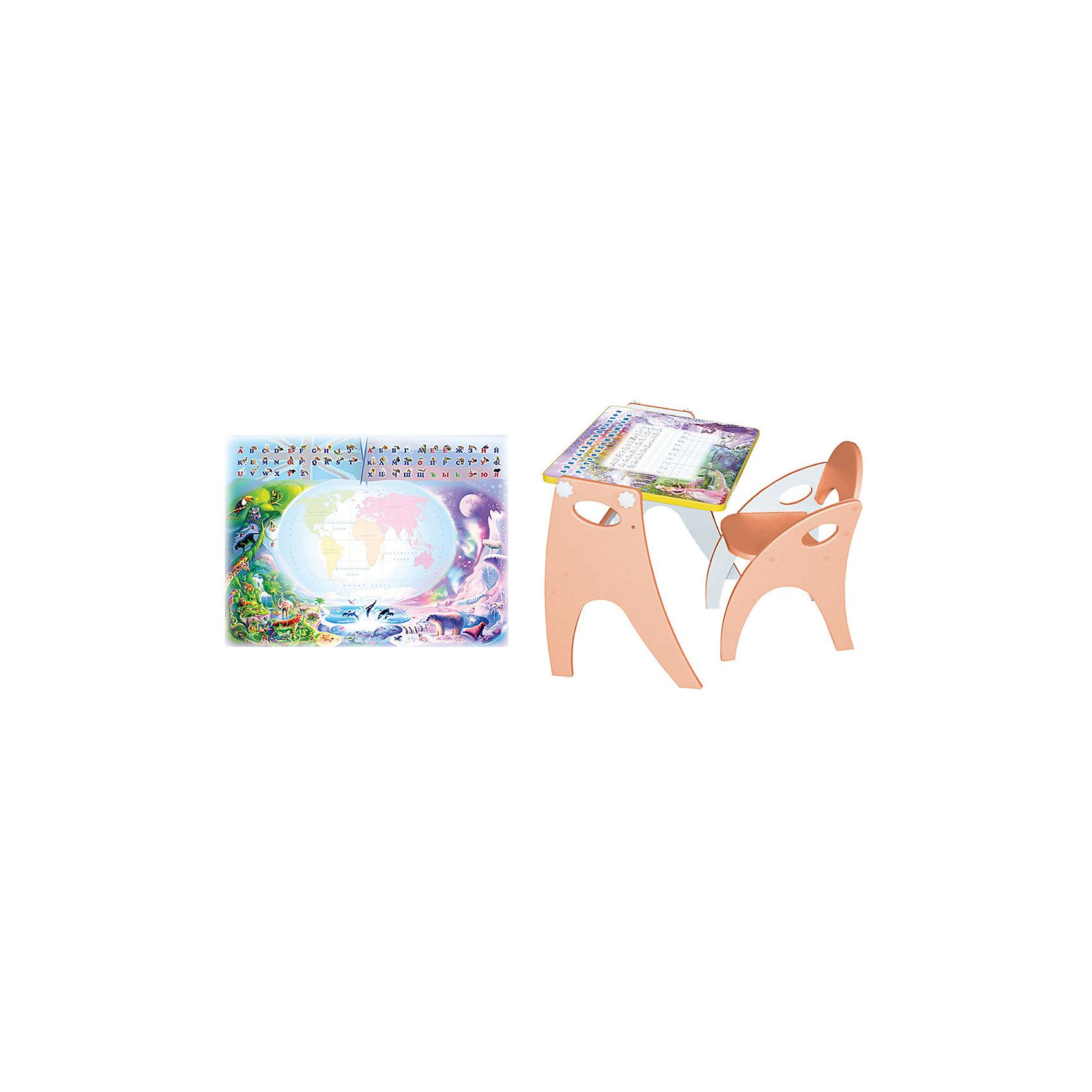 Набор мебели Части света, персиковыйНабор детской мебели Части света состоит из двух предметов: столик (трансформер) и стульчик.  Столик  имеет механизм трансформации, который позволяет превращать столик в парту и мольберт. Поворот осуществляется при помощи поворотного шарнира, а фиксация - скрепляющими барашками. <br>Столешница парты изготавливается из МДФ и с одной стороны имеет маркерную, с другой - грифельную поверхность.<br><br>Дополнительная информация:<br><br>- Цвет: персиковый<br>- Материал: МДФ  ламинированный ПВХ пленкой.<br>- Возраст: от 3-х лет<br>- Вес: 11.5 кг. <br>- Размеры: <br>      парта: 62x40x50 см, <br>      стул:  40x30x50 см, <br>      мольберт: 62x40x70 см.<br><br>Набор мебели Части света в персиковом цвете, можно купить в нашем магазине<br><br>Ширина мм: 600<br>Глубина мм: 120<br>Высота мм: 450<br>Вес г: 11500<br>Возраст от месяцев: 36<br>Возраст до месяцев: 108<br>Пол: Унисекс<br>Возраст: Детский<br>SKU: 4718349