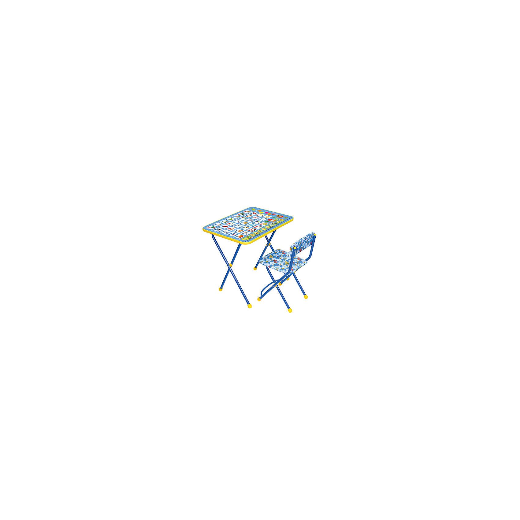 Набор мебели Азбука, КП2/9, НикаСтолы и стулья<br>Набор детской мебели Азбука состоит из двух предметов: стол-парта и стульчик.  На крышке столика изображен алфавит с картинками. <br><br>Дополнительная информация:<br><br>В комплект входит стол-парта и стул с мягким сиденьем.<br>- Металлический каркас.<br>- Столешница облицована пленкой с тематическими рисунками.<br>- На ножках стула установлены пластмассовые наконечники.<br>- Размер столика: 59х45х57 см.<br>- Размер стула: высота до сиденья 32 см, высота со спинкой 56 см.<br>Сиденье: 30х27 см.<br>- Возраст: от 3-х лет<br><br>Набор мебели Азбука можно купить в нашем магазине.<br><br>Ширина мм: 580<br>Глубина мм: 120<br>Высота мм: 450<br>Вес г: 8000<br>Возраст от месяцев: 36<br>Возраст до месяцев: 84<br>Пол: Унисекс<br>Возраст: Детский<br>SKU: 4718350