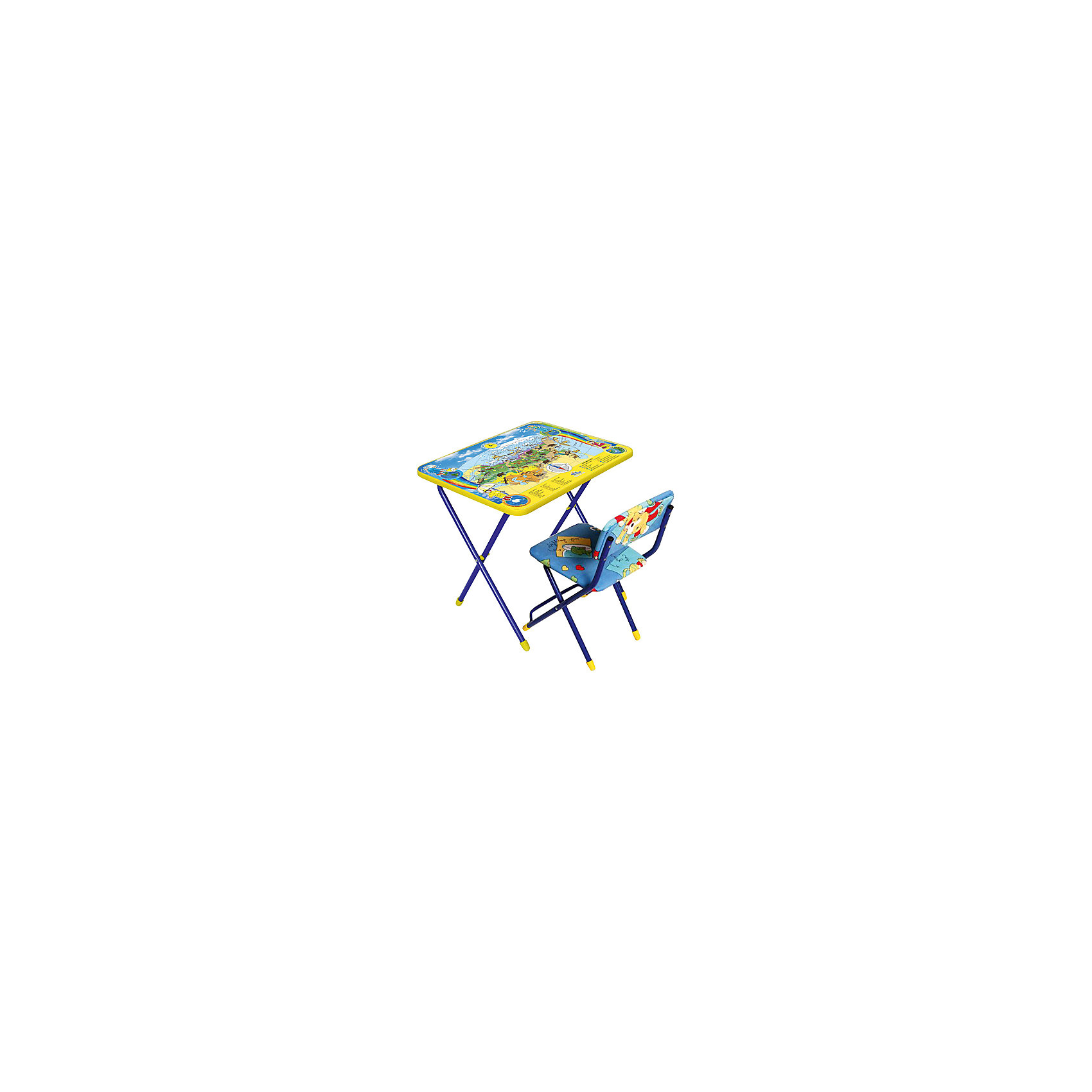 Набор мебели Познаю мирНабор детской мебели Познаю мир состоит из двух предметов: стол-парта и стульчик.  На крышке столика изображена карта с животными, которые населяют нашу Землю.<br><br>Дополнительная информация:<br><br>В комплект входит стол-парта и стул с мягким сиденьем.<br>- Металлический каркас.<br>- Столешница облицована пленкой с тематическими рисунками.<br>- На ножках стула установлены пластмассовые наконечники.<br>- Размер столика: 59х45х57 см.<br>- Размер стула: высота до сиденья 32 см, высота со спинкой 56 см.<br>Сиденье: 30х27 см.<br>- Возраст: от 3-х лет<br><br>Набор мебели Познаю мир можно купить в нашем магазине.<br><br>Ширина мм: 580<br>Глубина мм: 120<br>Высота мм: 450<br>Вес г: 8000<br>Возраст от месяцев: 36<br>Возраст до месяцев: 108<br>Пол: Унисекс<br>Возраст: Детский<br>SKU: 4718354