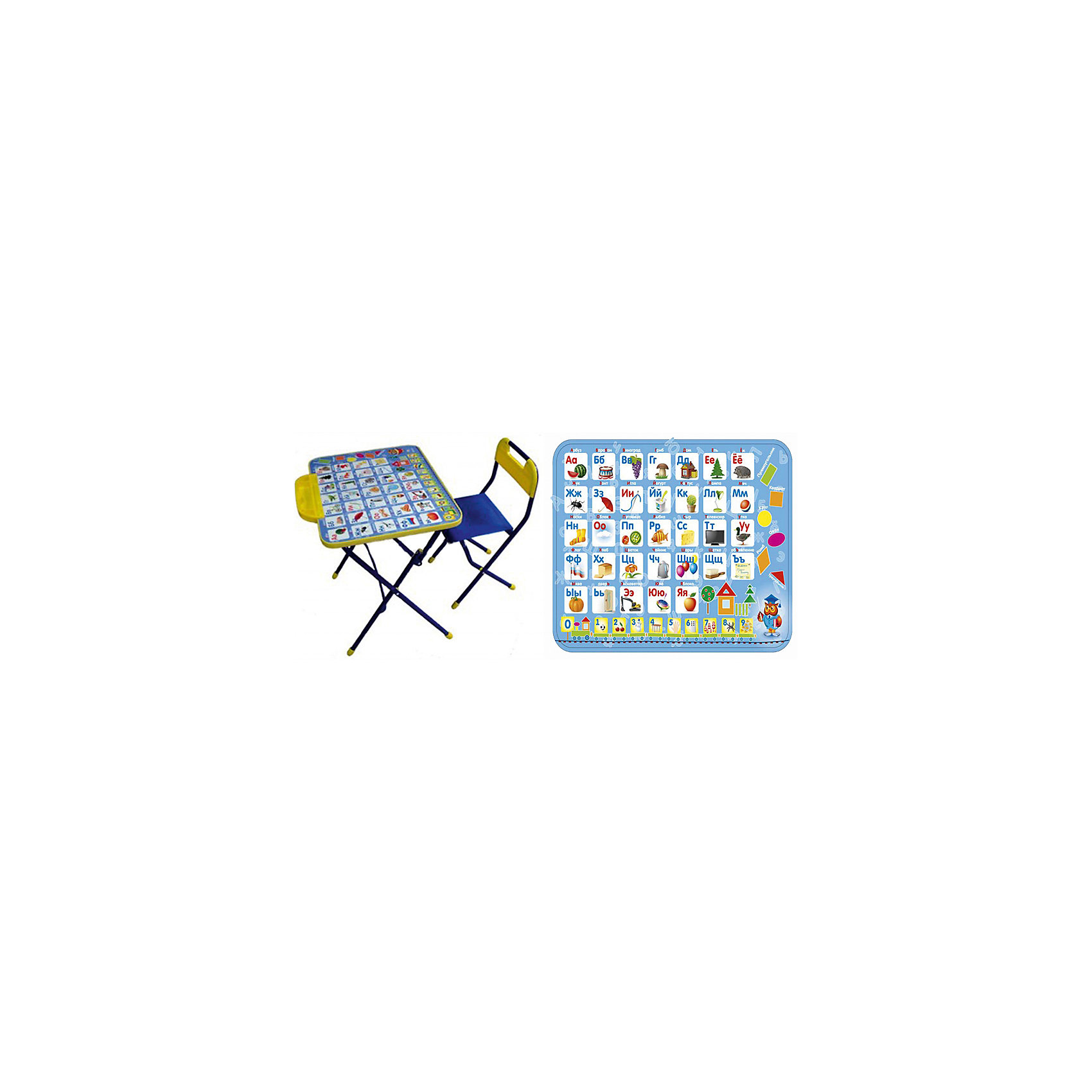 Набор мебели Азбука, КПУ1/9, НикаДетские столы и стулья<br>Набор детской мебели Азбука состоит из двух предметов: стол-парта и стульчик.  На крышке столика изображены рисунки способствующие развитию ребенка.<br><br>Дополнительная информация:<br><br>В комплект входит стол-парта и стул с пластиковым сиденьем.<br>- Металлический каркас.<br>- Столешница облицована пленкой с тематическими рисунками.<br>- На ножках стула установлены пластмассовые наконечники.<br>- Размер столика: 60х45х57 см.<br>- Размер стула: высота до сиденья 34 см, высота со спинкой 59 см.<br>Сиденье: 30х30 см.<br>- Возраст: от 3-х лет<br><br>Набор мебели Азбука можно купить в нашем магазине.<br><br>Ширина мм: 580<br>Глубина мм: 120<br>Высота мм: 450<br>Вес г: 7050<br>Возраст от месяцев: 36<br>Возраст до месяцев: 108<br>Пол: Унисекс<br>Возраст: Детский<br>SKU: 4718356