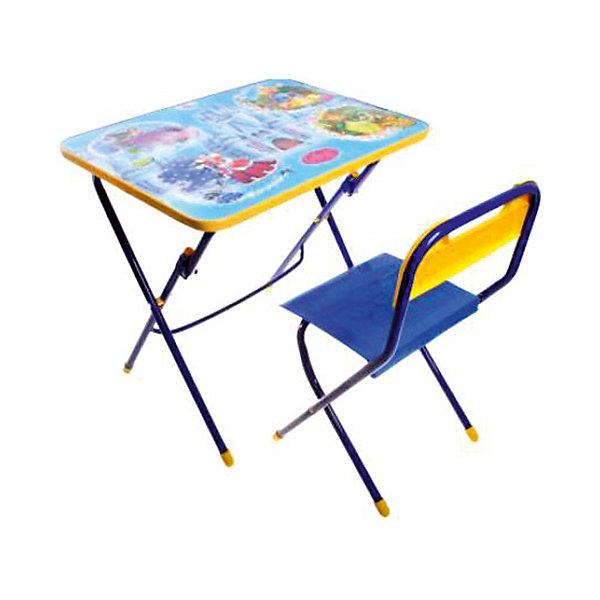 Набор мебели Волшебный мир принцессДетские столы и стулья<br>Набор детской мебели Волшебный мир принцесс состоит из двух предметов: стол-парта и стульчик.  На крышке столика изображены рисунки способствующие развитию ребенка.<br><br>Дополнительная информация:<br><br>В комплект входит стол-парта и стул с пластиковым сиденьем.<br>- Металлический каркас.<br>- Столешница облицована пленкой с тематическими рисунками.<br>- На ножках стула установлены пластмассовые наконечники.<br>- Размер столика: 60х45х57 см.<br>- Размер стула: высота до сиденья 34 см, высота со спинкой 59 см.<br>Сиденье: 30х30 см.<br>- Возраст: от 3-х лет<br><br>Набор мебели Волшебный мир принцесс можно купить в нашем магазине.<br><br>Ширина мм: 580<br>Глубина мм: 120<br>Высота мм: 450<br>Вес г: 7050<br>Возраст от месяцев: 36<br>Возраст до месяцев: 108<br>Пол: Унисекс<br>Возраст: Детский<br>SKU: 4718358