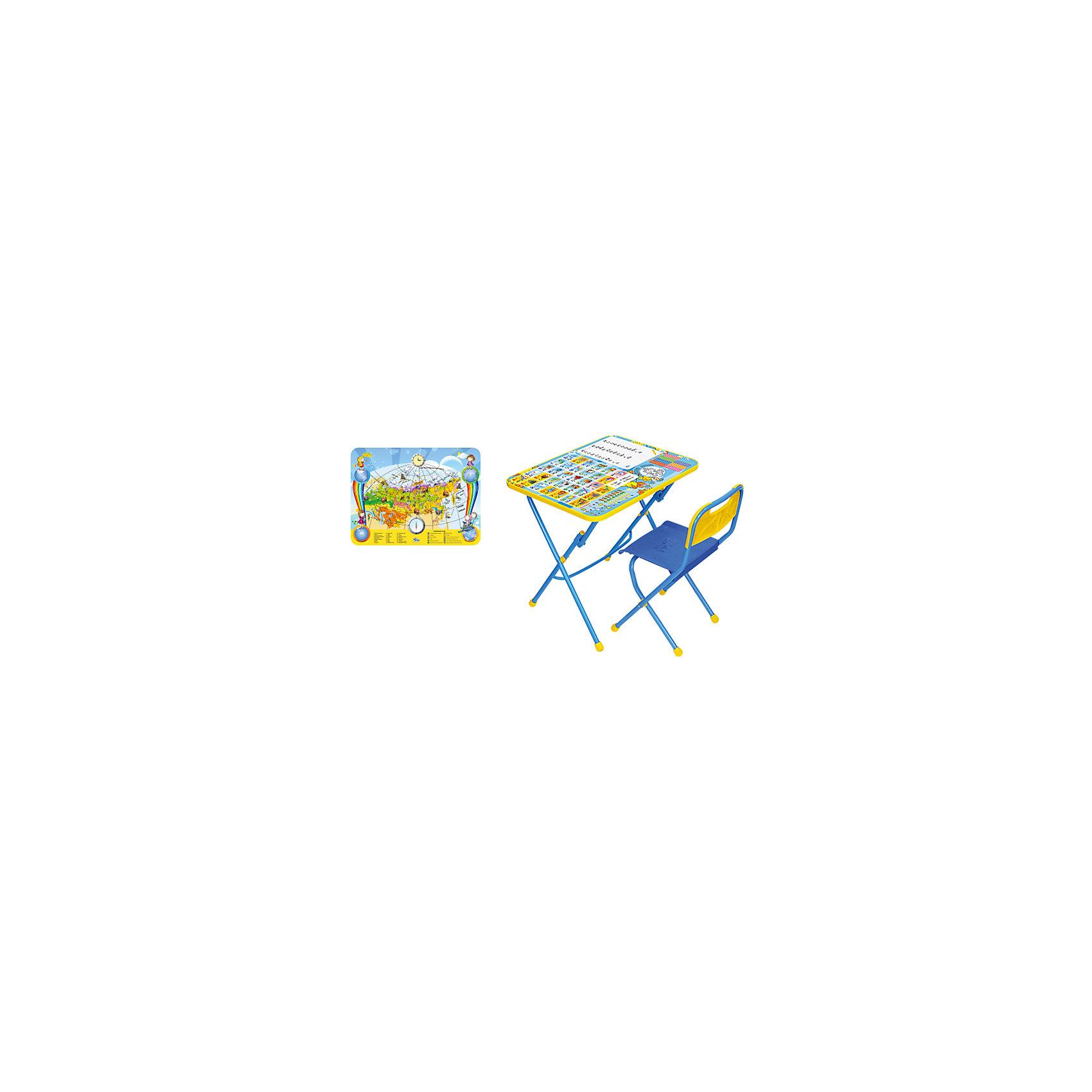 Набор мебели Познаю мирСтолы и стулья<br>Набор детской мебели Познаю мир состоит из двух предметов: стол-парта и стульчик.  На крышке столика изображены рисунки способствующие развитию ребенка.<br>При необходимости, стол и стул возможно сложить, они очень компактны в собранном виде, это дает возможность использования данного комплекта мебели даже в небольшой комнате. <br><br>Дополнительная информация:<br><br>В комплект входит стол-парта и стул с пластиковым сиденьем.<br>- Металлический каркас.<br>- Столешница облицована пленкой с тематическими рисунками.<br>- На ножках стула установлены пластмассовые наконечники.<br>- Размер столика: 60х45х57 см.<br>- Размер стула: высота до сиденья 34 см, высота со спинкой 59 см.<br>Сиденье: 30х30 см.<br>- Возраст: от 3-х лет<br><br>Набор мебели Познаю мир  можно купить в нашем магазине.<br><br>Ширина мм: 580<br>Глубина мм: 120<br>Высота мм: 450<br>Вес г: 7050<br>Возраст от месяцев: 36<br>Возраст до месяцев: 108<br>Пол: Унисекс<br>Возраст: Детский<br>SKU: 4718361