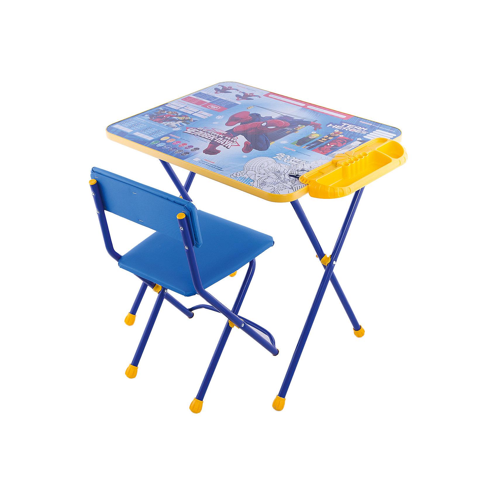 Набор мебели Человек ПаукНабор детской мебели Человек Паук состоит из трех предметов: стол-парта и стульчик и пластиковый пенал. За столиком можно рисовать, играть, принимать пищу, заниматься, учится, а для того чтобы не затерялись письменные принадлежности, на кромке стола есть специальный пенальчик. <br>При необходимости, стол и стул возможно сложить, они очень компактны в собранном виде, это дает возможность использования данного комплекта мебели даже в небольшой комнате. <br><br>Дополнительная информация:<br><br>В комплект входит стол-парта и стул, пенал( пластиковый).<br>- Металлический каркас.<br>- Столешница облицована пленкой с тематическими рисунками.<br>- На ножках стула установлены пластмассовые наконечники.<br>- Размер столика: 60х45х52 см.<br>- Размер стула: высота до сиденья 29 см, высота со спинкой 54 см.<br>Сиденье: 29х26 см.<br>- Возраст: от 1,5 лет<br><br>Набор мебели Человек Паук  можно купить в нашем магазине.<br><br>Ширина мм: 9999<br>Глубина мм: 9999<br>Высота мм: 9999<br>Вес г: 8000<br>Возраст от месяцев: 36<br>Возраст до месяцев: 108<br>Пол: Унисекс<br>Возраст: Детский<br>SKU: 4718364