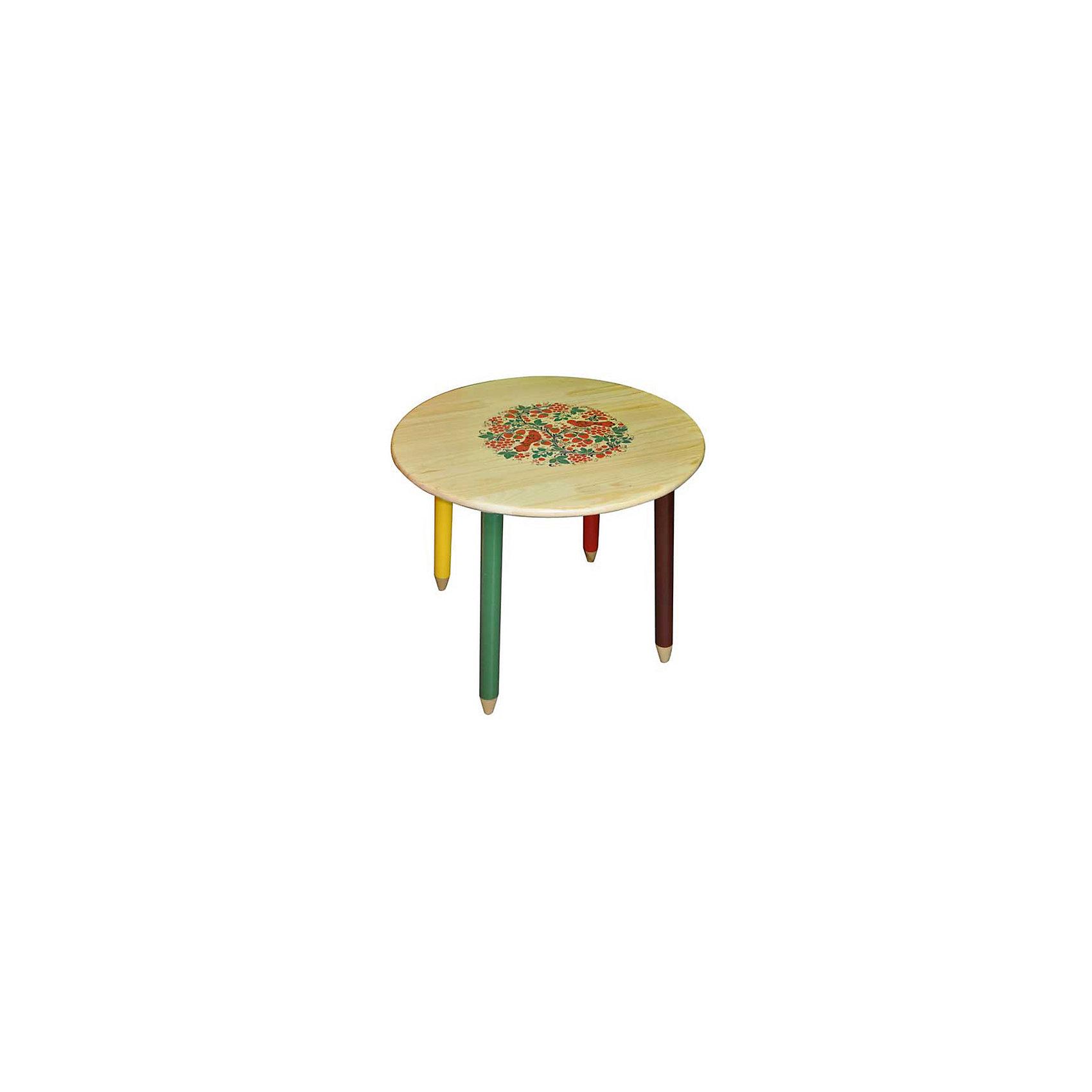 Стол СветлячокМебель<br>Красочный круглый столик со сказочными рисунками выполнен из массива. Его поверхность пропитана варёным льняным маслом и покрыта алюминиевым порошком и росписью. На поверхность стола также нанесены несколько слоев лака. Столик очень прочный и устойчивый, покрытие закалено при особом температурном режиме и не будет отслаиваться или облупливаться при частой влажной уборке.<br><br>Дополнительная информация:<br><br>- Возраст: от 6 мес.<br>- Материал: дерево.<br>- Цвет: орнамент - светлячок. <br>- Параметры стола:<br>   Диаметр стола 65 см,<br>   Высота 58 см.<br><br>Детский столик Светлячок можно купить в нашем магазине.<br><br>Ширина мм: 650<br>Глубина мм: 650<br>Высота мм: 580<br>Вес г: 5600<br>Возраст от месяцев: 36<br>Возраст до месяцев: 108<br>Пол: Унисекс<br>Возраст: Детский<br>SKU: 4718375