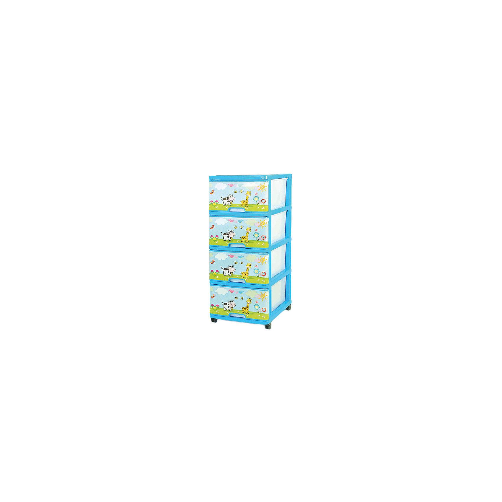 Комод На лужайке, голубойМебель<br>Если вы решили собрать все детские вещи в одном месте, вам поможет в этом специальный детский комод, а орнамент На лужайке послужит прекрасным декором. <br>Комод очень удобен, прост, вместителен и безопасен  в эксплуатации.<br><br>Дополнительная информация:<br><br>- 4 глубоких и вместительных ящика;<br>- съемные колесики;<br>- безопасен для малыша, т.к. не имеет острых углов и не переворачивается;<br>- ящики вытащить полностью не возможно, а значит ребёнок их на себя не вытащит;<br>- изготовлен из экологически чистого материала;<br>- легко моется и чиститься;<br>- пластик очень прочный;<br>- подходит для детской и ванной комнат, коридора;<br>- доставляется в разобранном виде в компактной упаковке<br>Размеры:<br>Ширина-40 см.<br>Глубина-50 см.<br>Высота-100 см.<br>Вес: 6.25 кг;<br>Цвет: голубой.<br>Материал: пластмасса.<br><br>Комод с рисунком На лужайке в голубом цвете, можно купить в нашем магазине.<br><br>Ширина мм: 980<br>Глубина мм: 480<br>Высота мм: 380<br>Вес г: 6250<br>Возраст от месяцев: 24<br>Возраст до месяцев: 2147483647<br>Пол: Унисекс<br>Возраст: Детский<br>SKU: 4718394